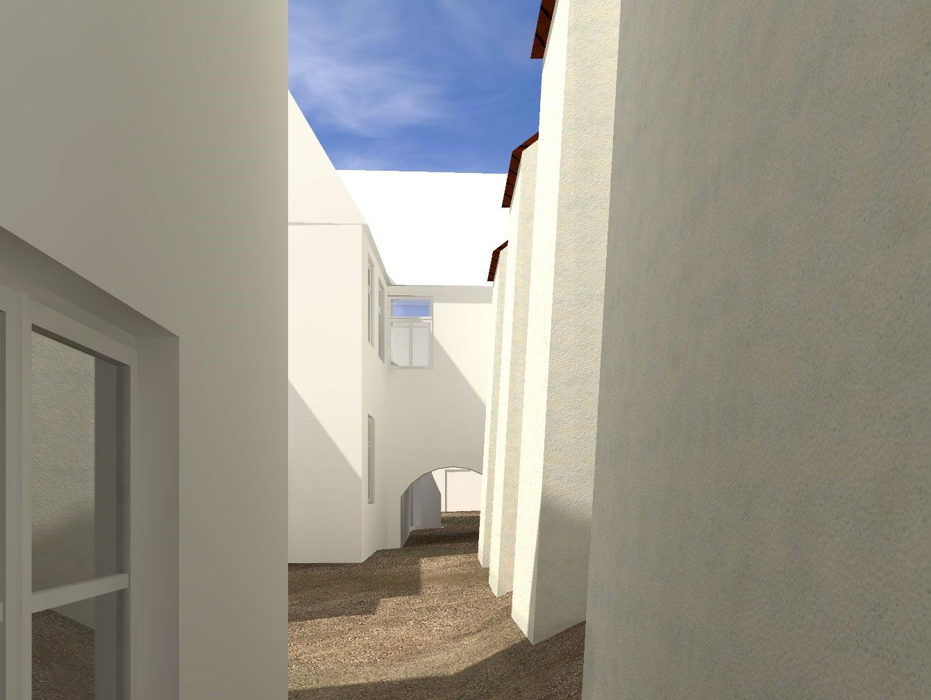 Südfassade der Synagoge und Durchgang
