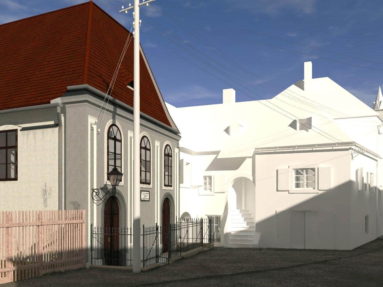 Eingangssituation der Synagoge mit Nachbarhaus Abeles