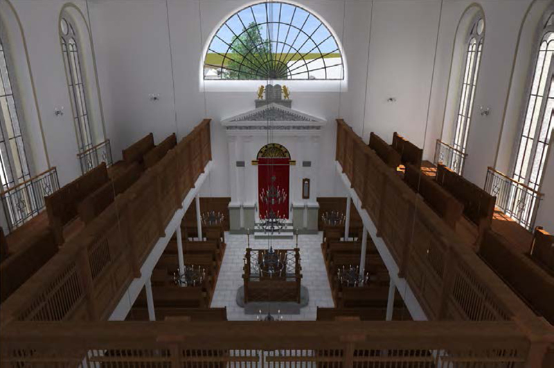 Betsaal und Frauenempore mit Blick in Richtung des Thoraschreins