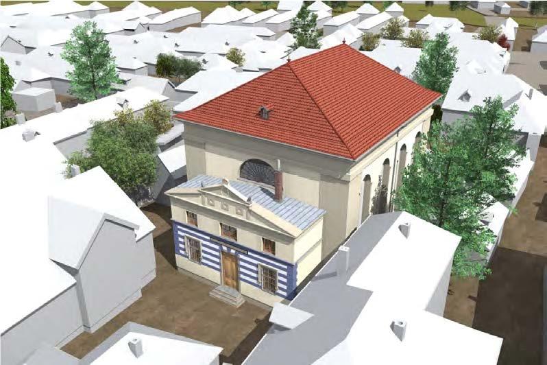Vogelperspektive der Synagoge mit Blick Richtung Nordost