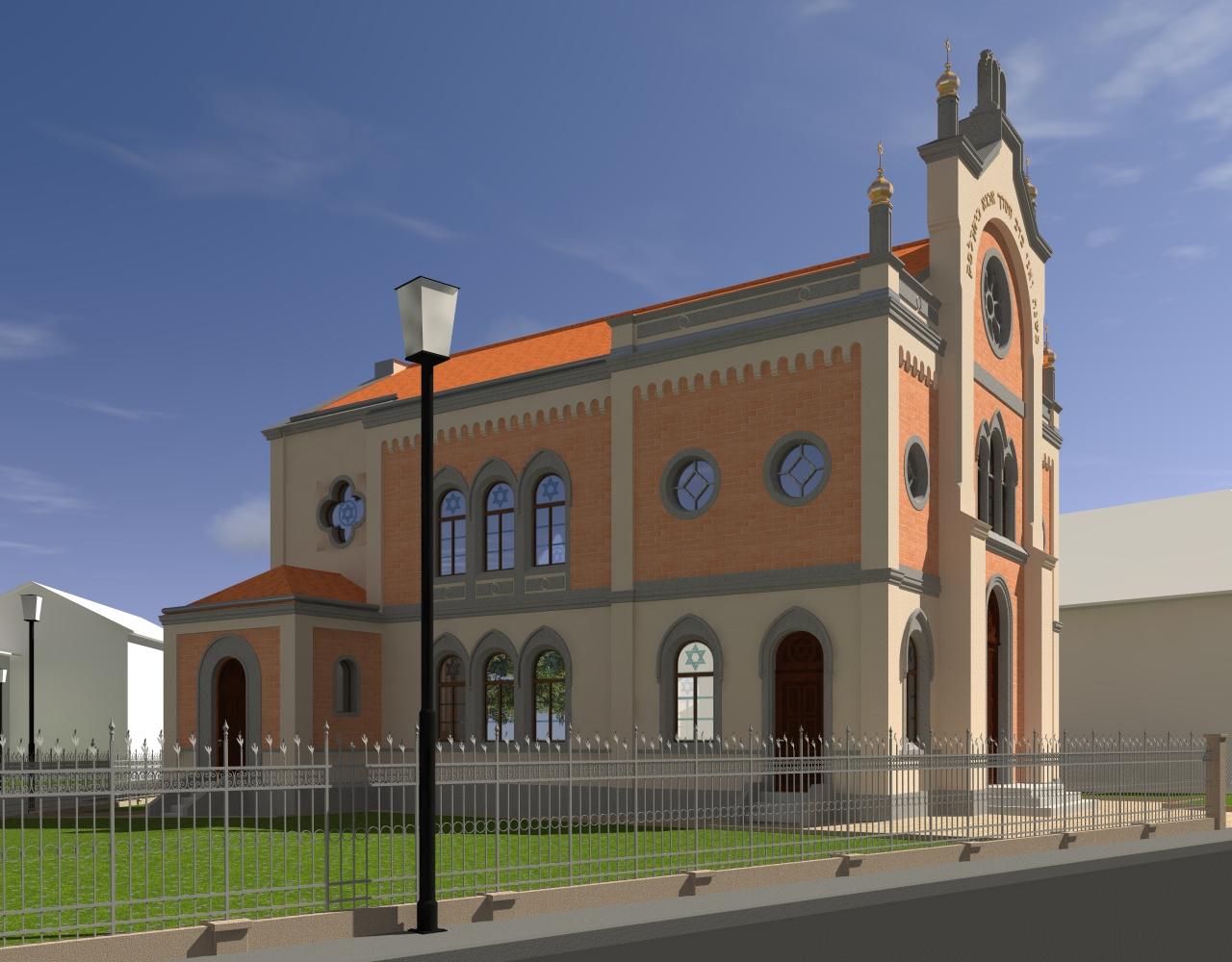 West- und Nordansicht der Synagoge