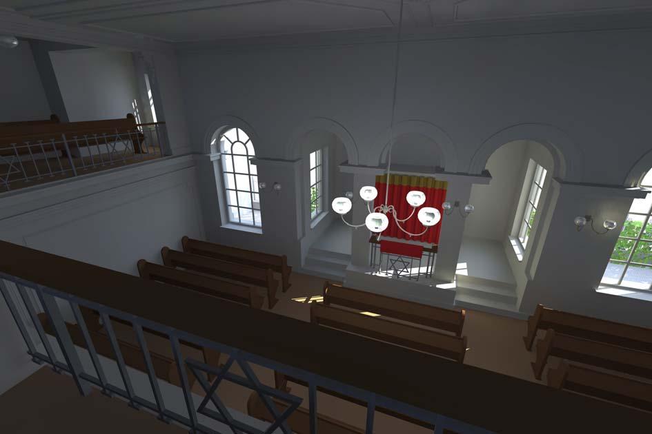 Betsaal nach dem Umbau mit Blick auf den Thoraschrein