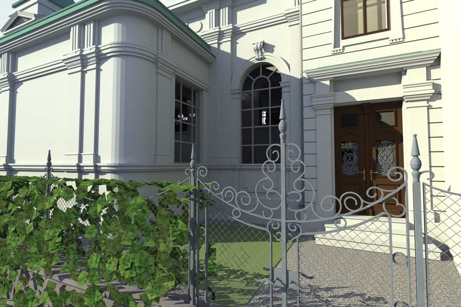 Eingangstür mit Zaun