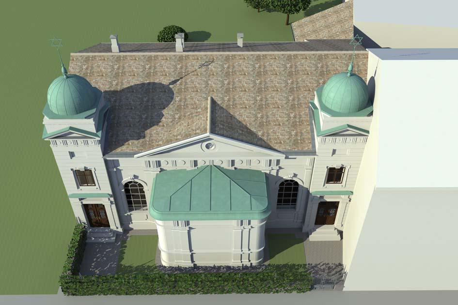Synagoge aus der Vogelperspektive