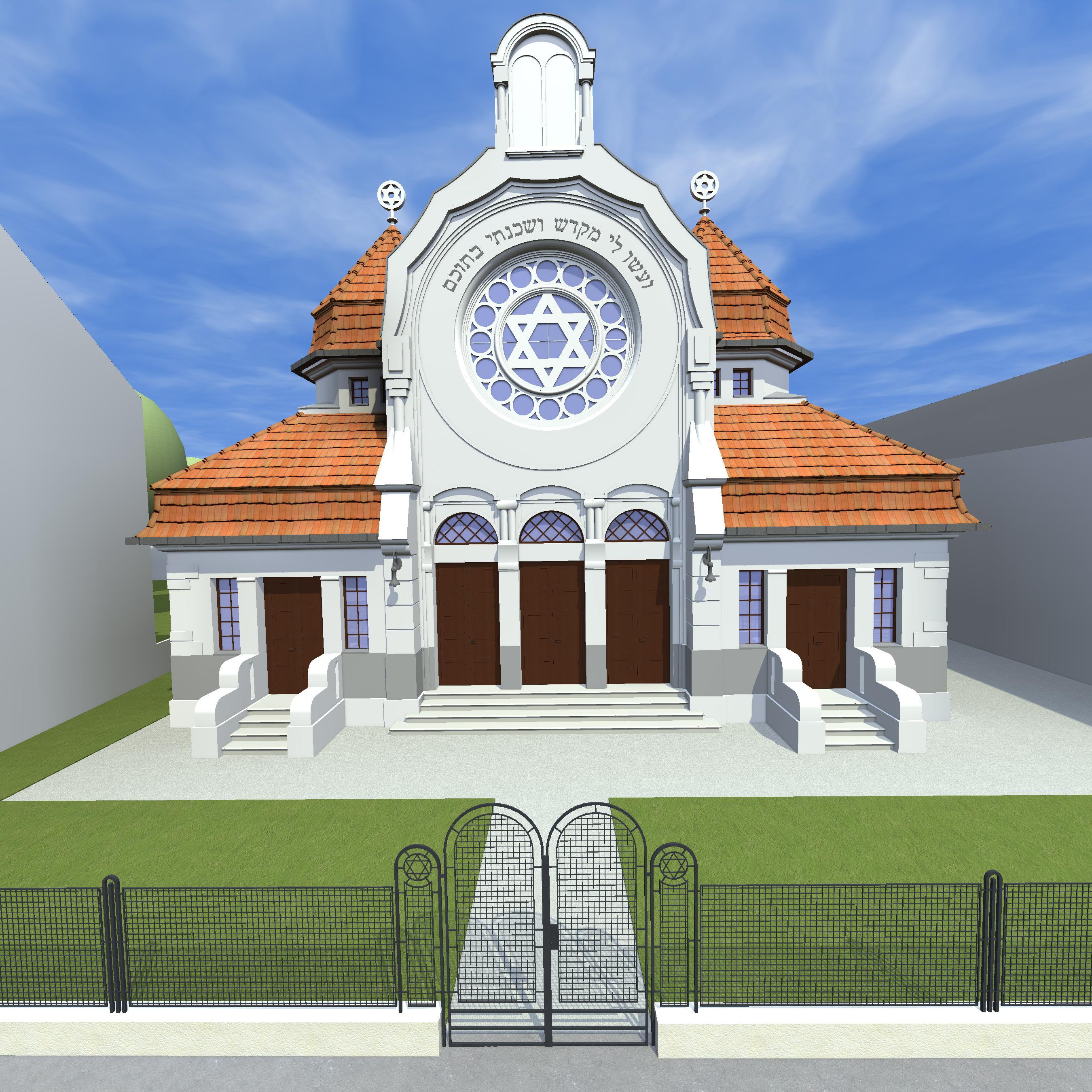 Westansicht von der Enzersdorferstraße, Synagoge als freistehendes Gebäude