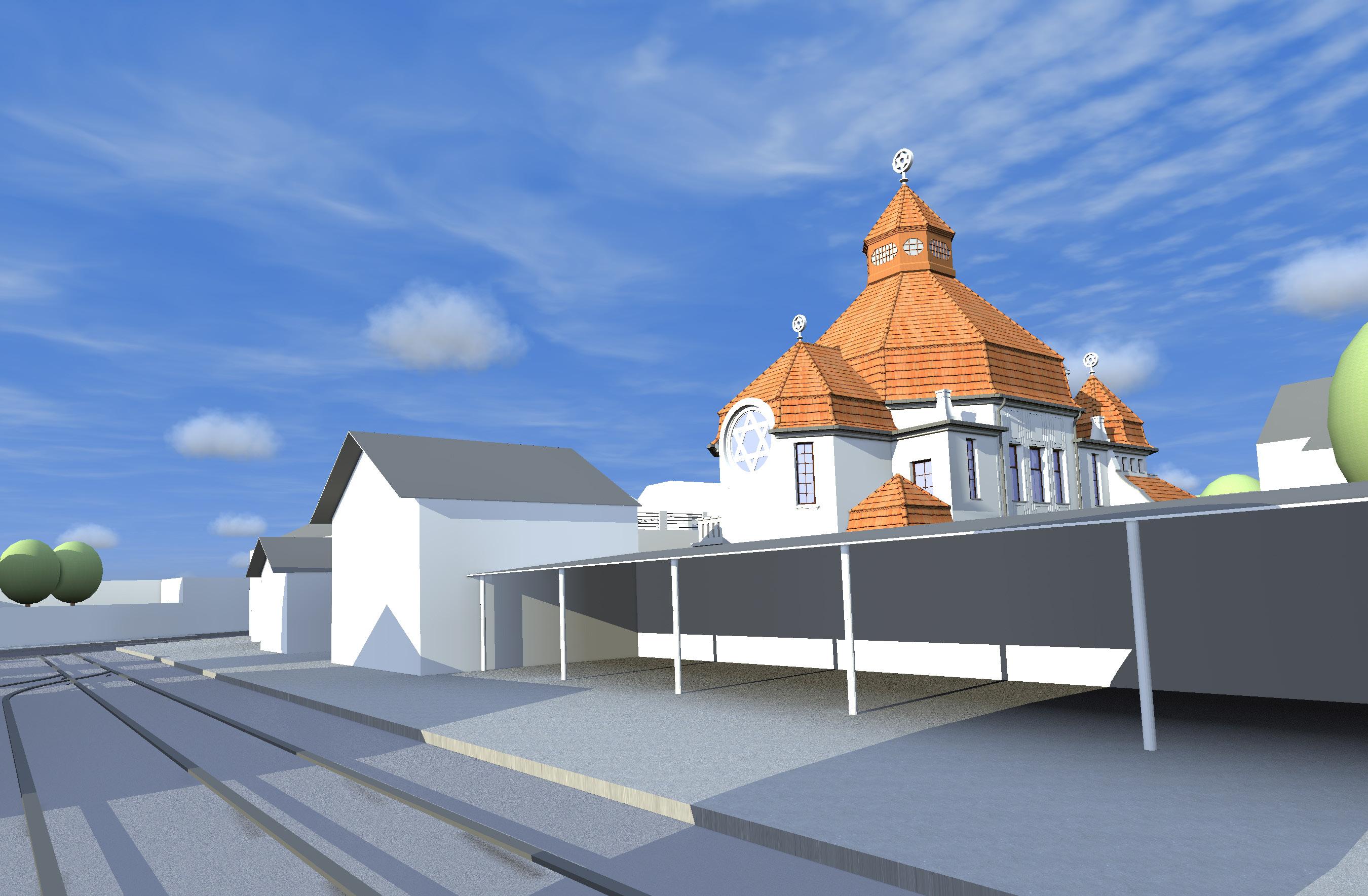 Blick vom Bahnhof auf die Rückseite der Synagoge