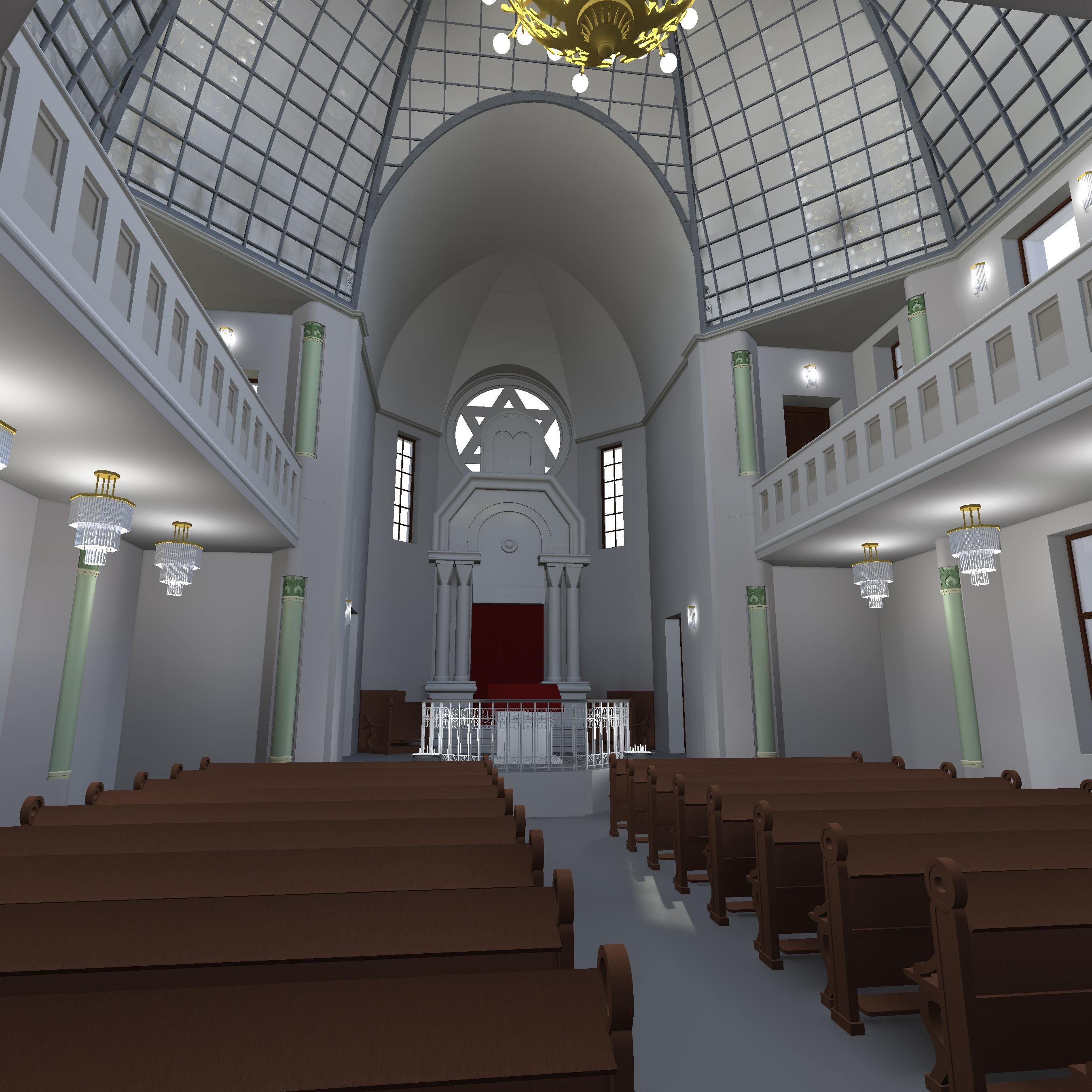 Synagoge mit Glaskuppel, Blick zum Thoraschrein