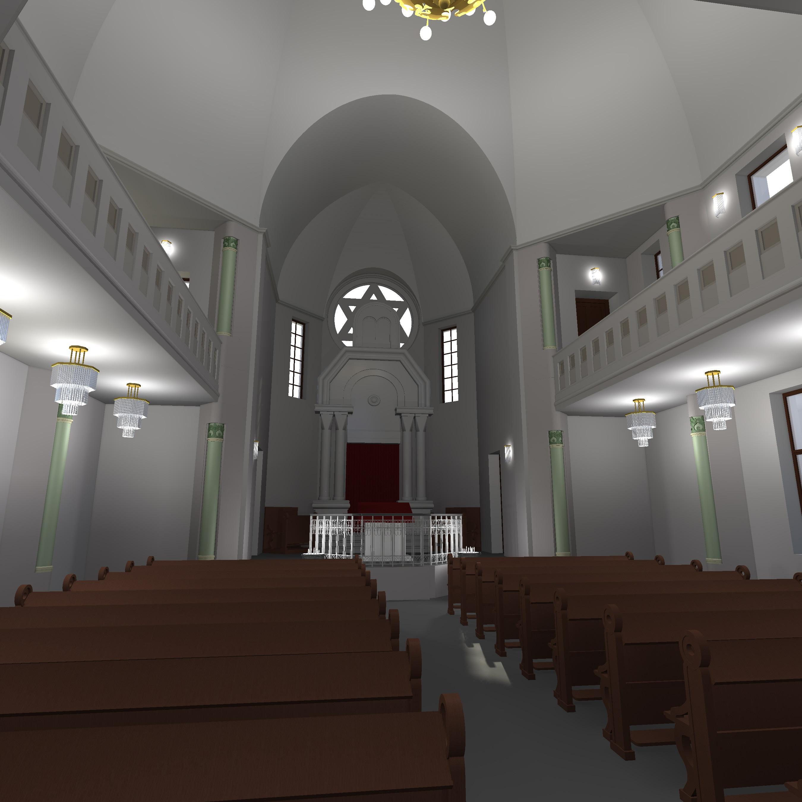 Synagoge ohne Glaskuppel, Blick zum Thoraschrein