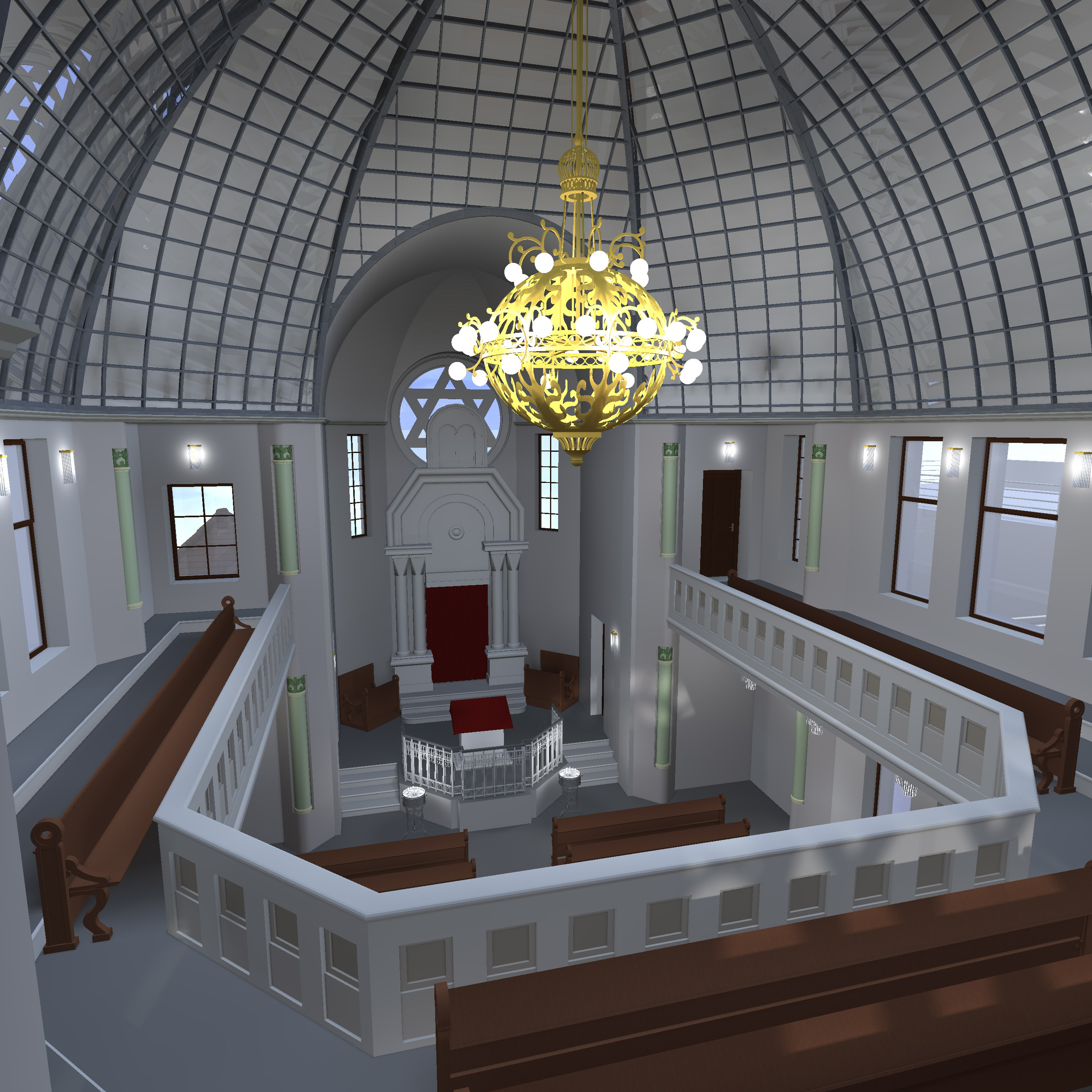 Synagoge mit Glaskuppel, Blick von der Frauengalerie