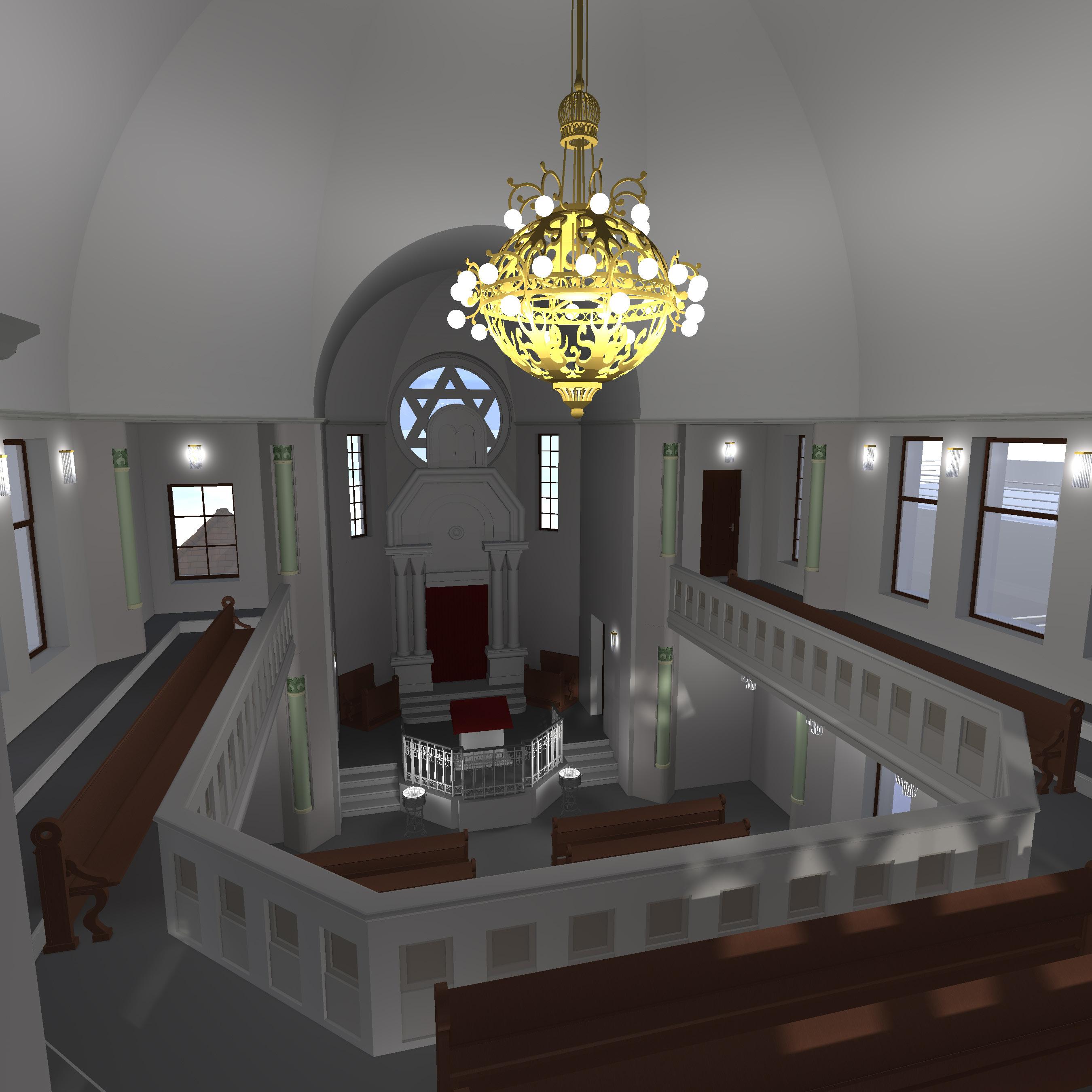 Synagoge ohne Glaskuppel, Blick von der Frauengalerie