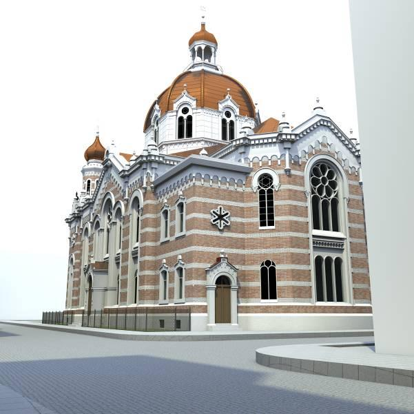 Rückseite der Synagoge aus der Froschperspektive