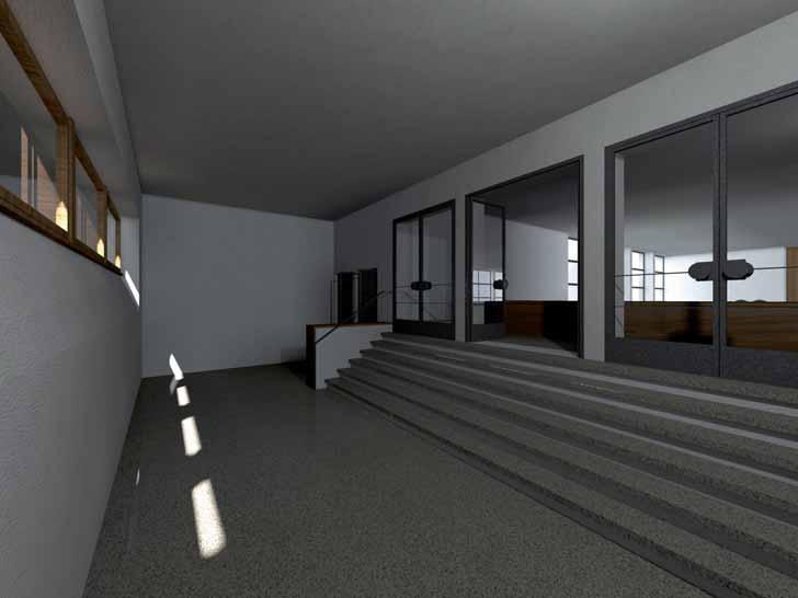 Die Garderobe der Frauen mit Treppe zur Empore