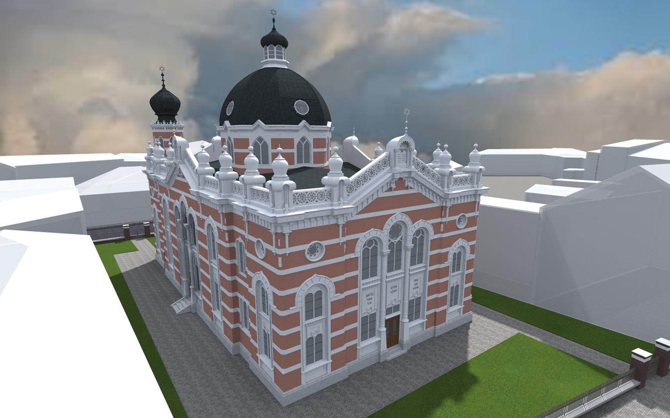 Blick aus der Südrichtung auf die Synagoge