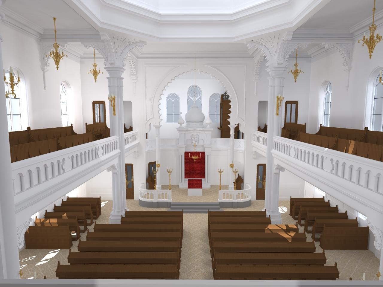 Betsaal mit Blick auf den Thoraschrein
