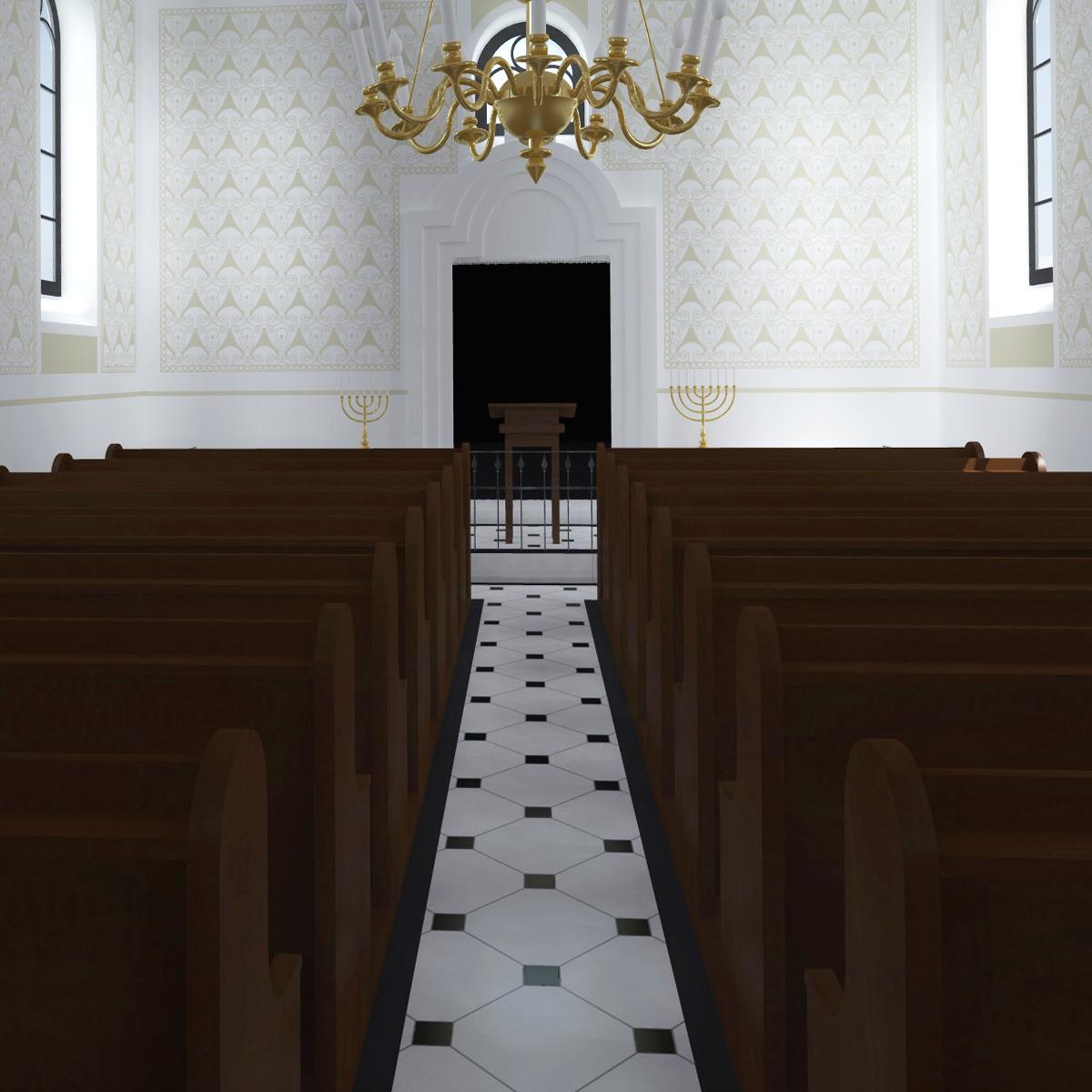 Betsaal mit Blick auf eine weitere Variante des Thoraschreins