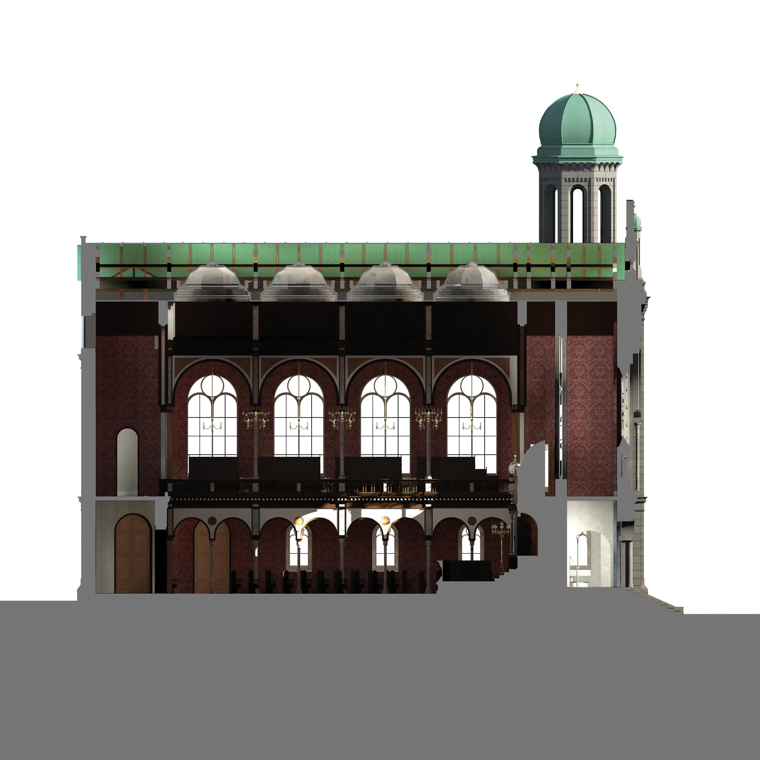 Visualisierung der Synagoge Marienbad, 3D-Längsschnitt