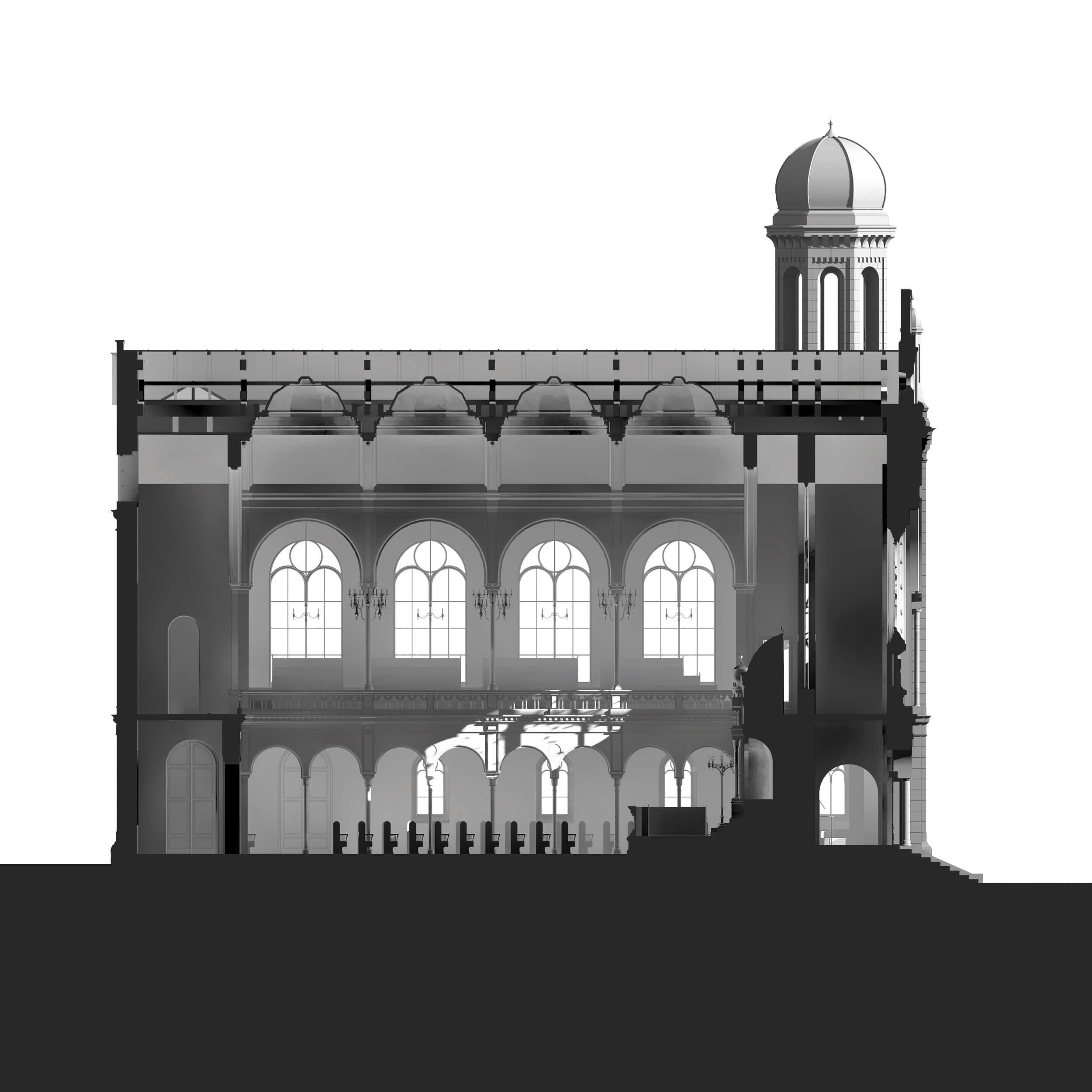 Visualisierung der Synagoge Marienbad, 3D-Längsschnitt, Weißmodell