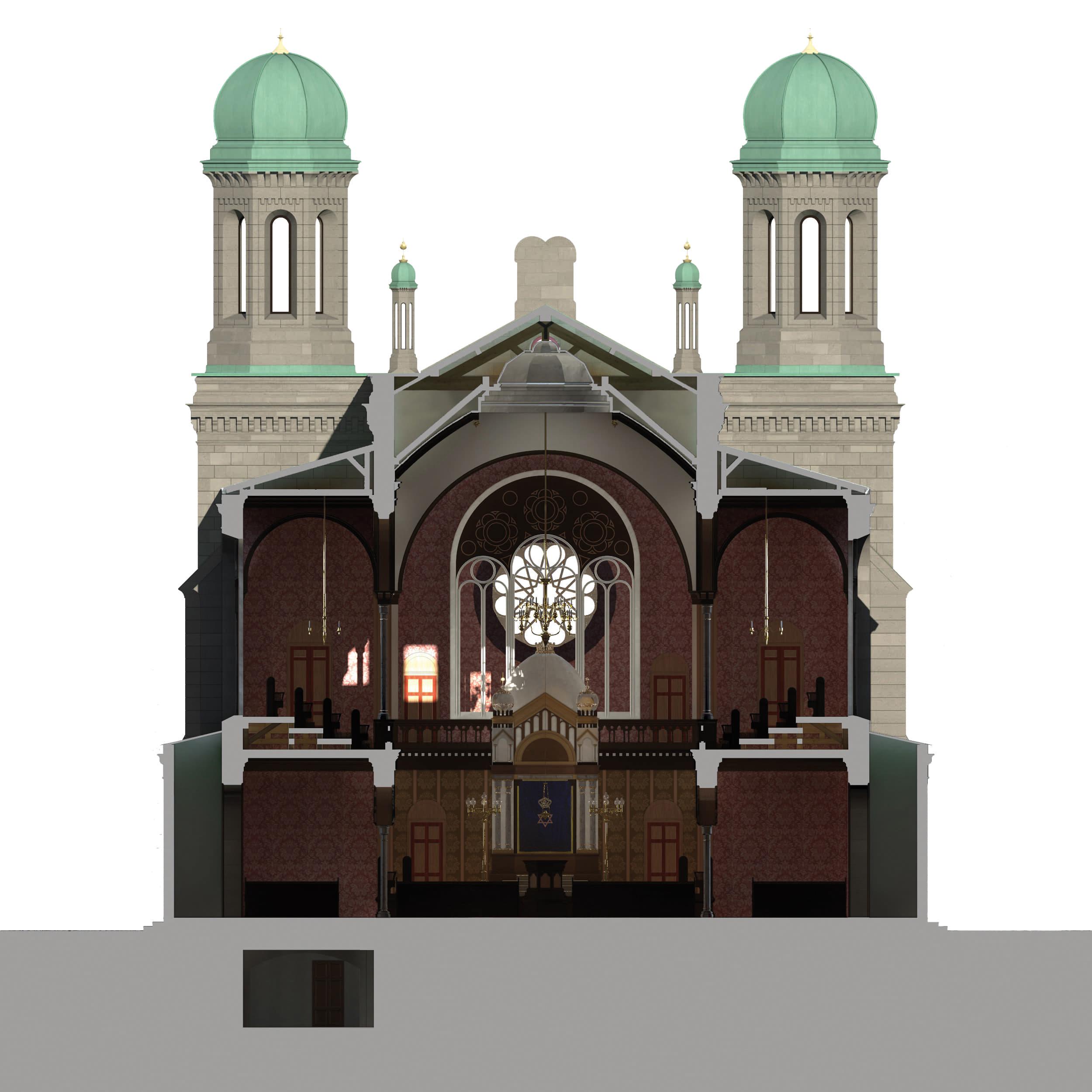 Visualisierung der Synagoge Marienbad, 3D-Querschnitt