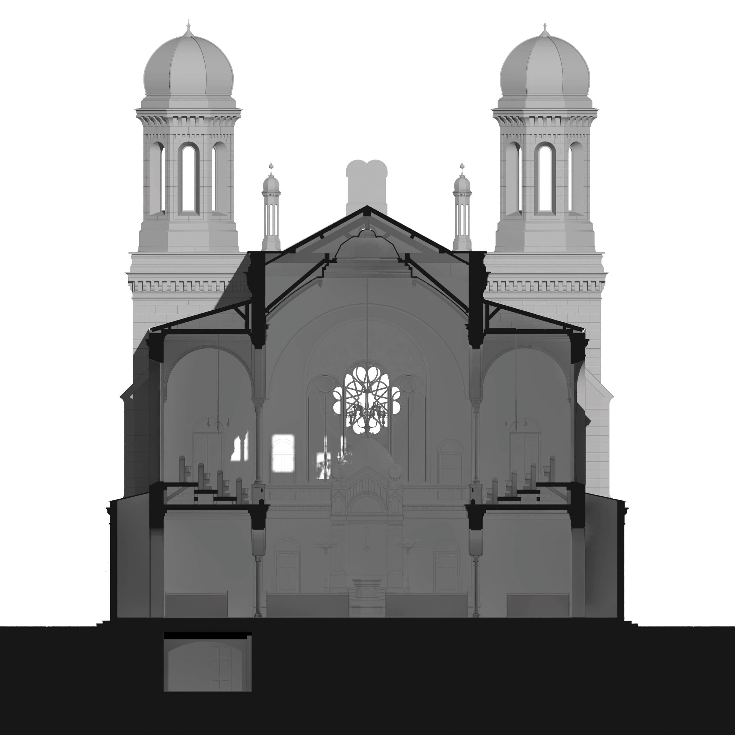 Visualisierung der Synagoge Marienbad, 3D-Querschnitt, Weißmodell