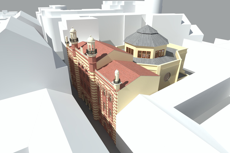 Ansicht Westfassade und Haupteingang, Visualisierung