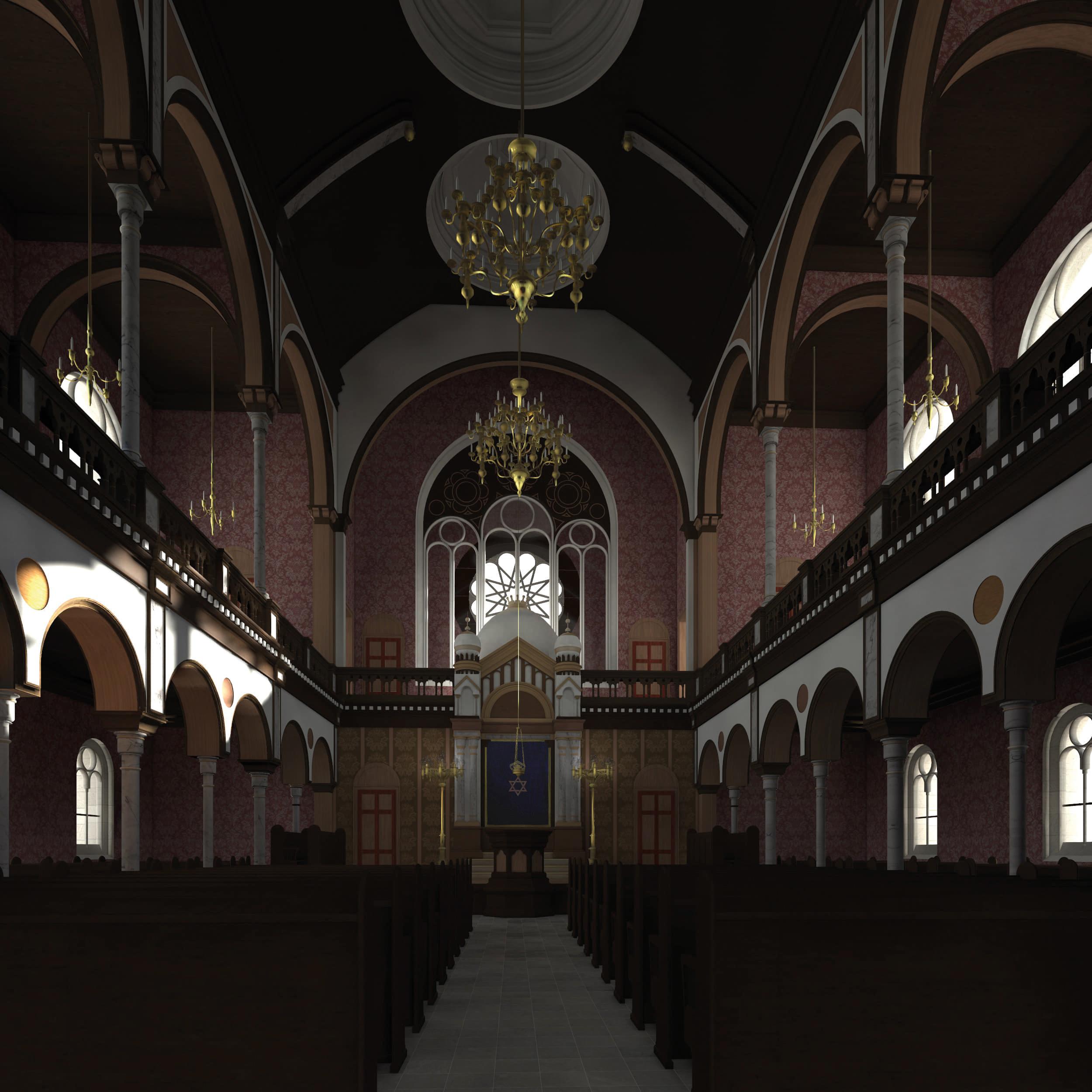 Visualisierung der Synagoge Marienbad, Innenansicht, Mittelgang