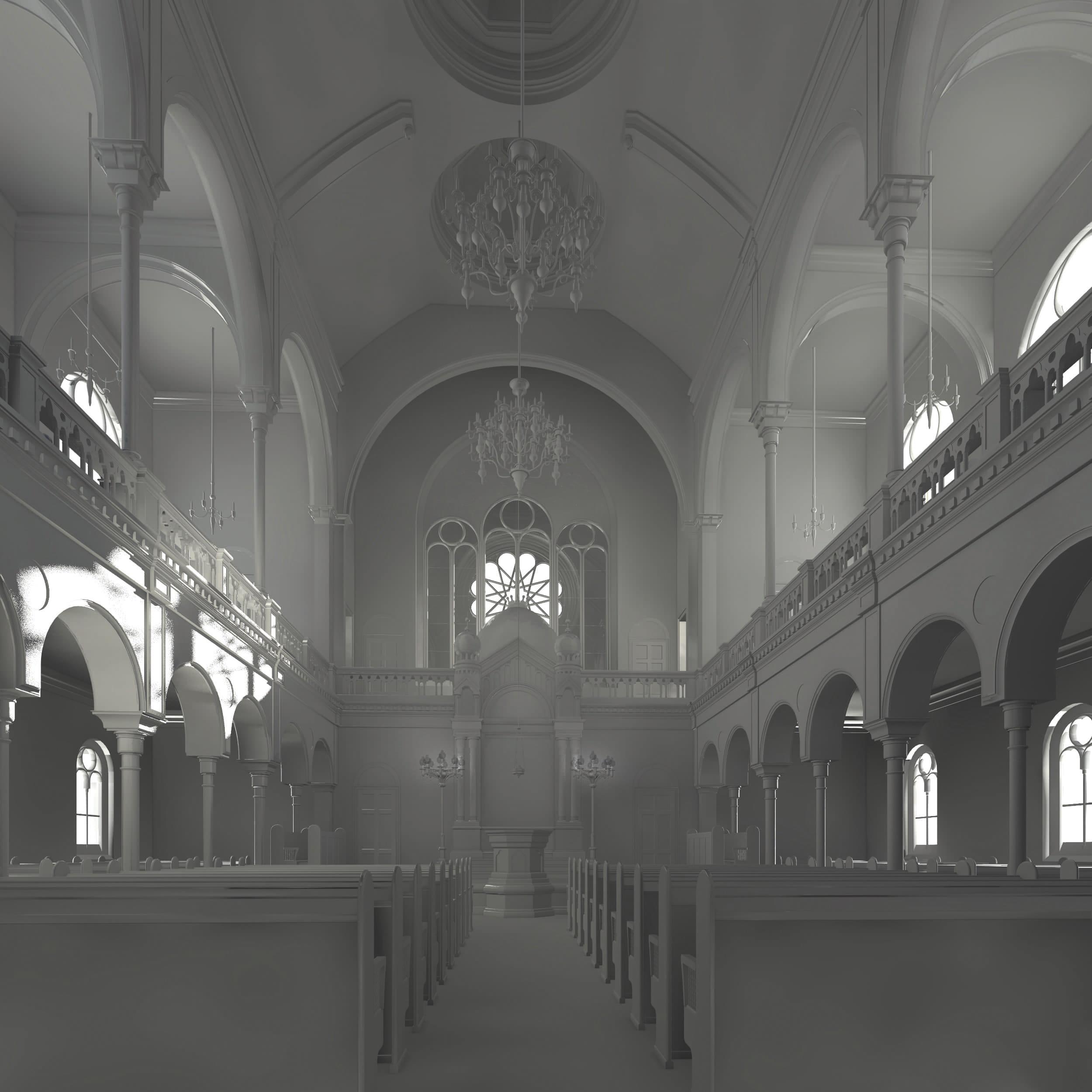 Visualisierung der Synagoge Marienbad, Innenansicht, Mittelgang, Weißmodell