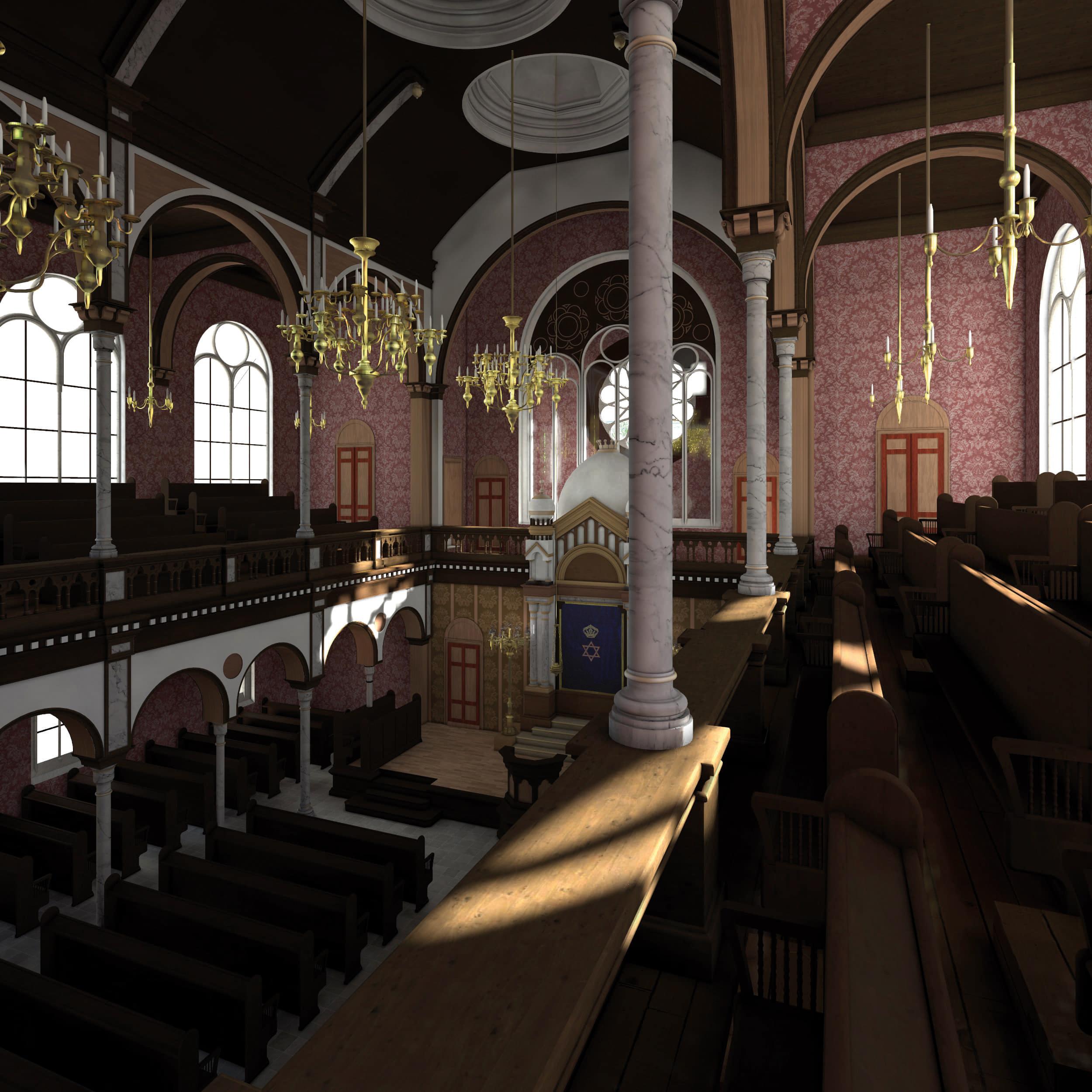 Visualisierung der Synagoge Marienbad, Innenansicht, Frauenemporen