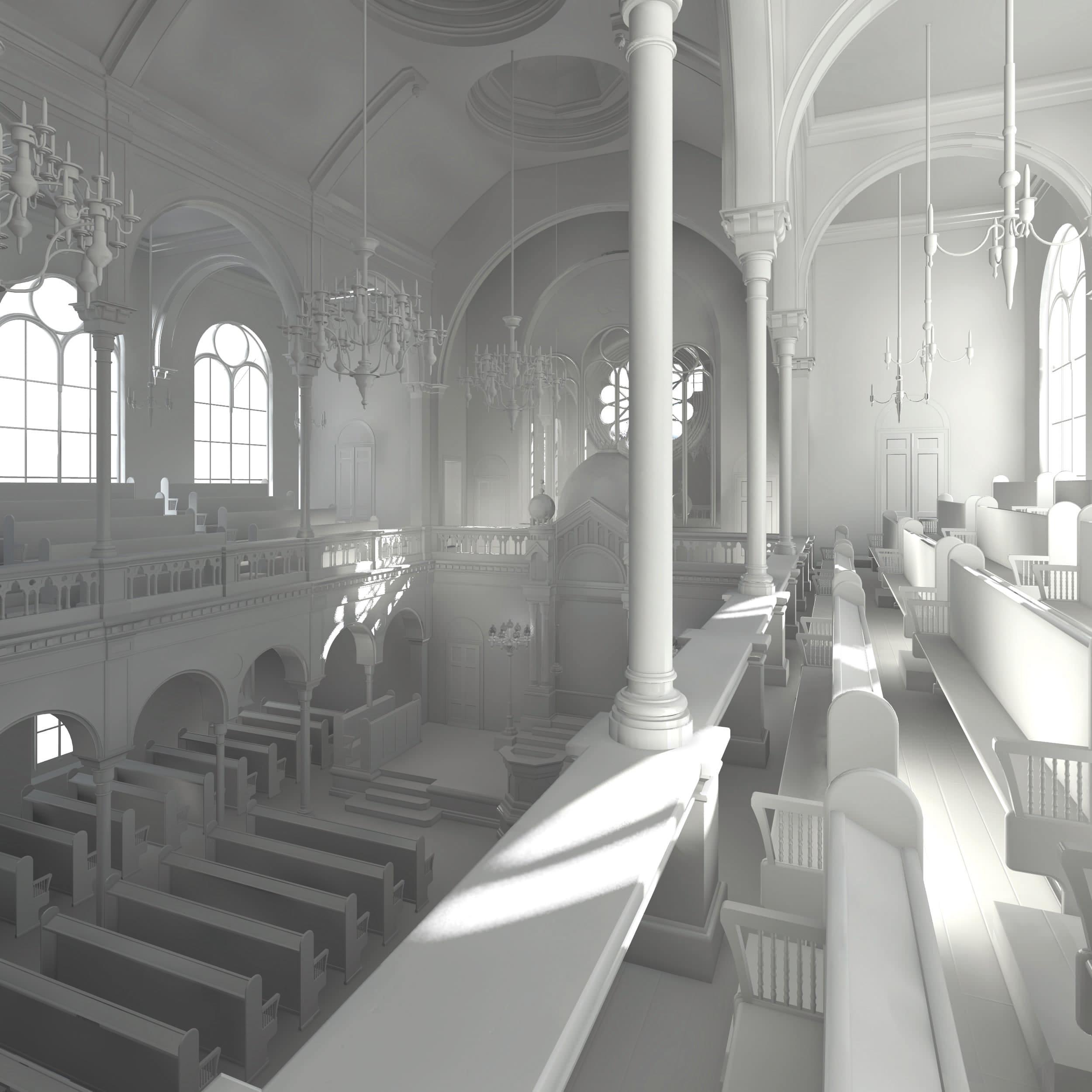 Visualisierung der Synagoge Marienbad, Innenansicht, Frauenemporen, Weißmodell