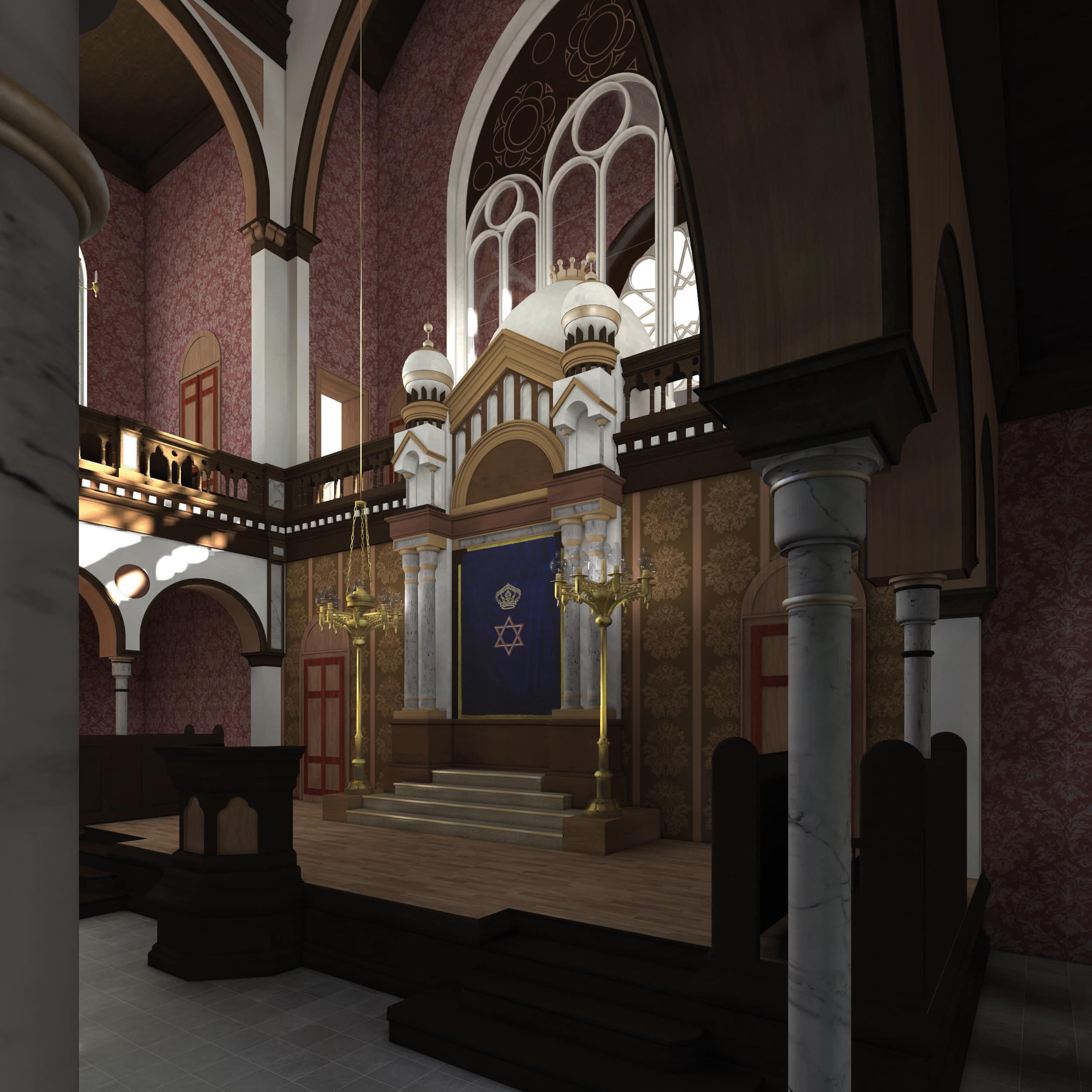 Visualisierung der Synagoge Marienbad, Innenansicht, Thoraschrein