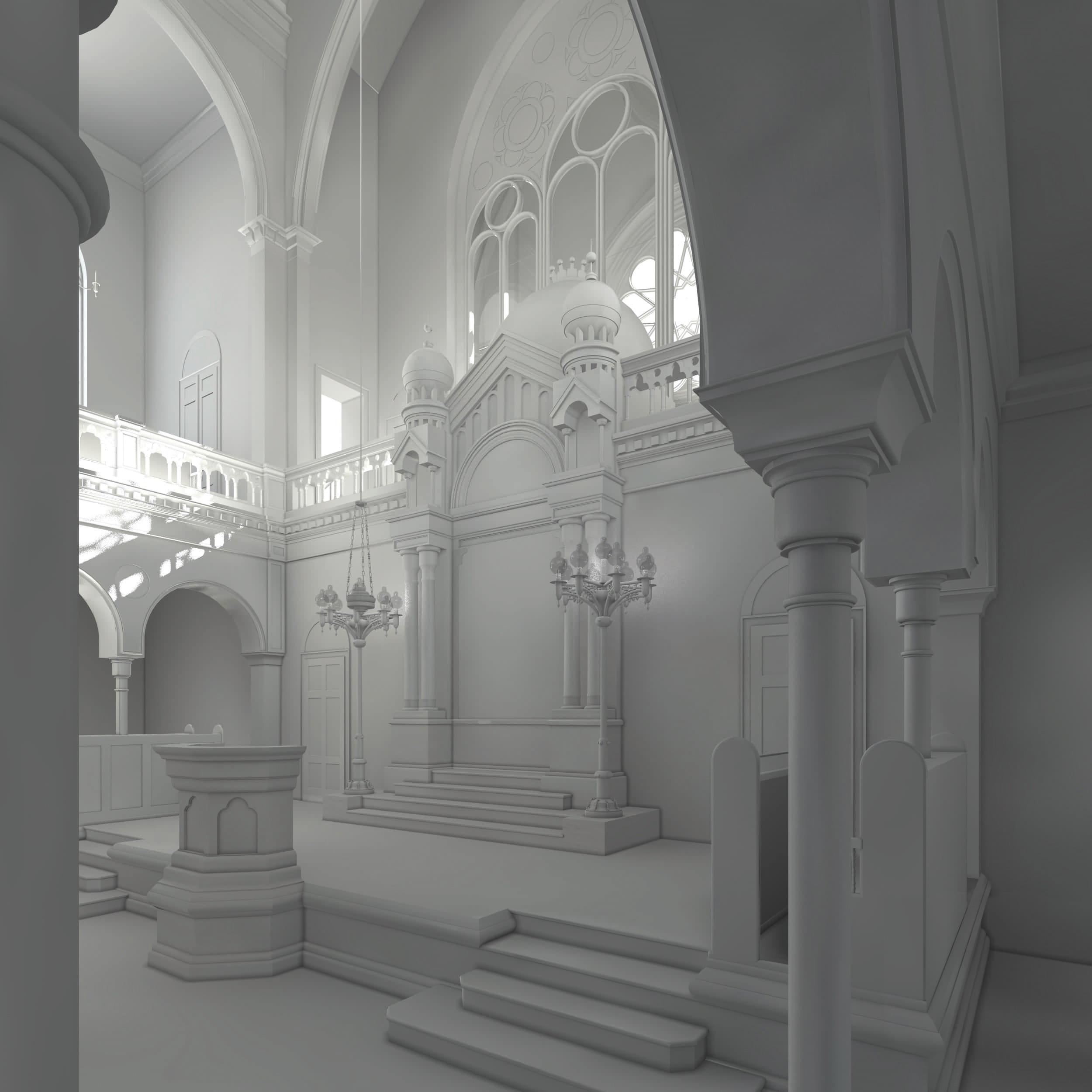 Visualisierung der Synagoge Marienbad, Innenansicht, Thoraschrein, Weißmodell