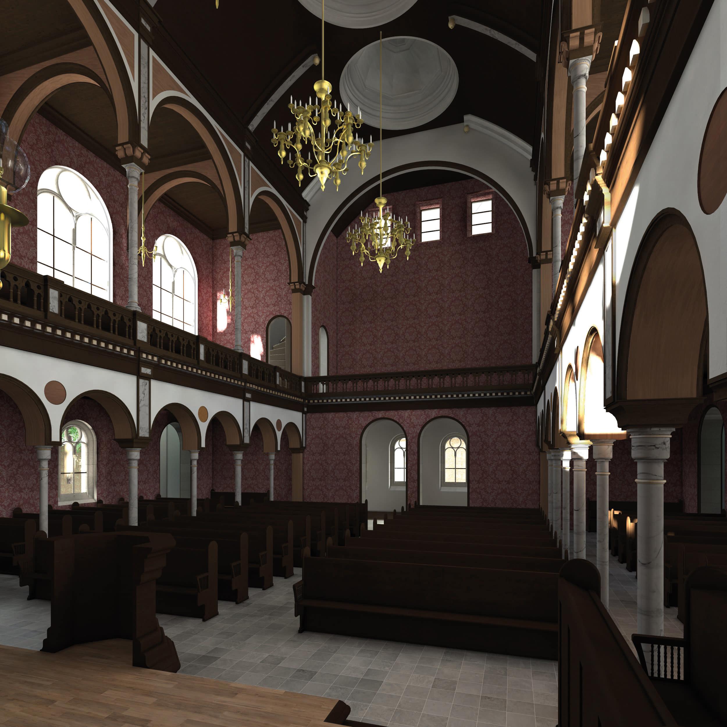 Visualisierung der Synagoge Marienbad, Innenansicht, Richtung Westen