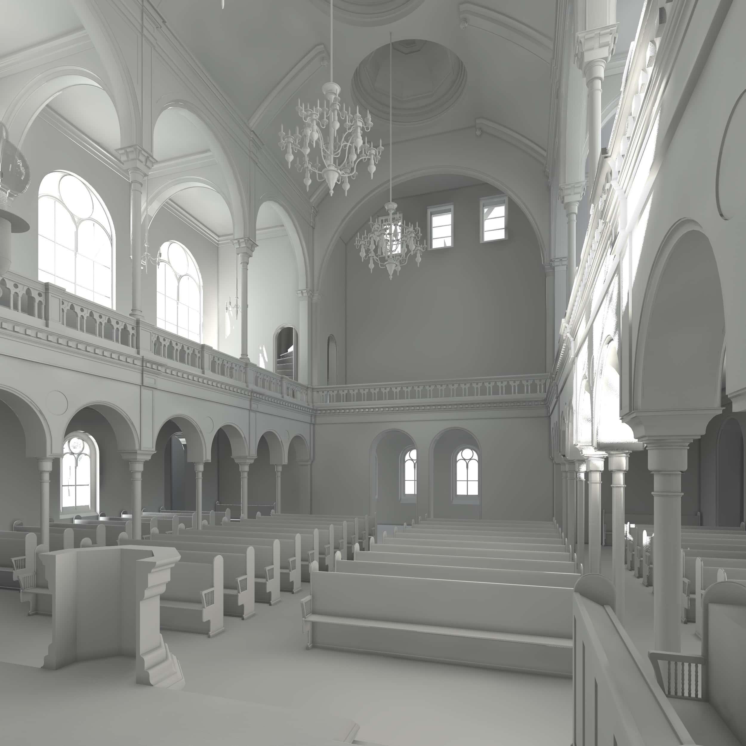 Visualisierung der Synagoge Marienbad, Innenansicht, Richtung Westen, Weißmodell