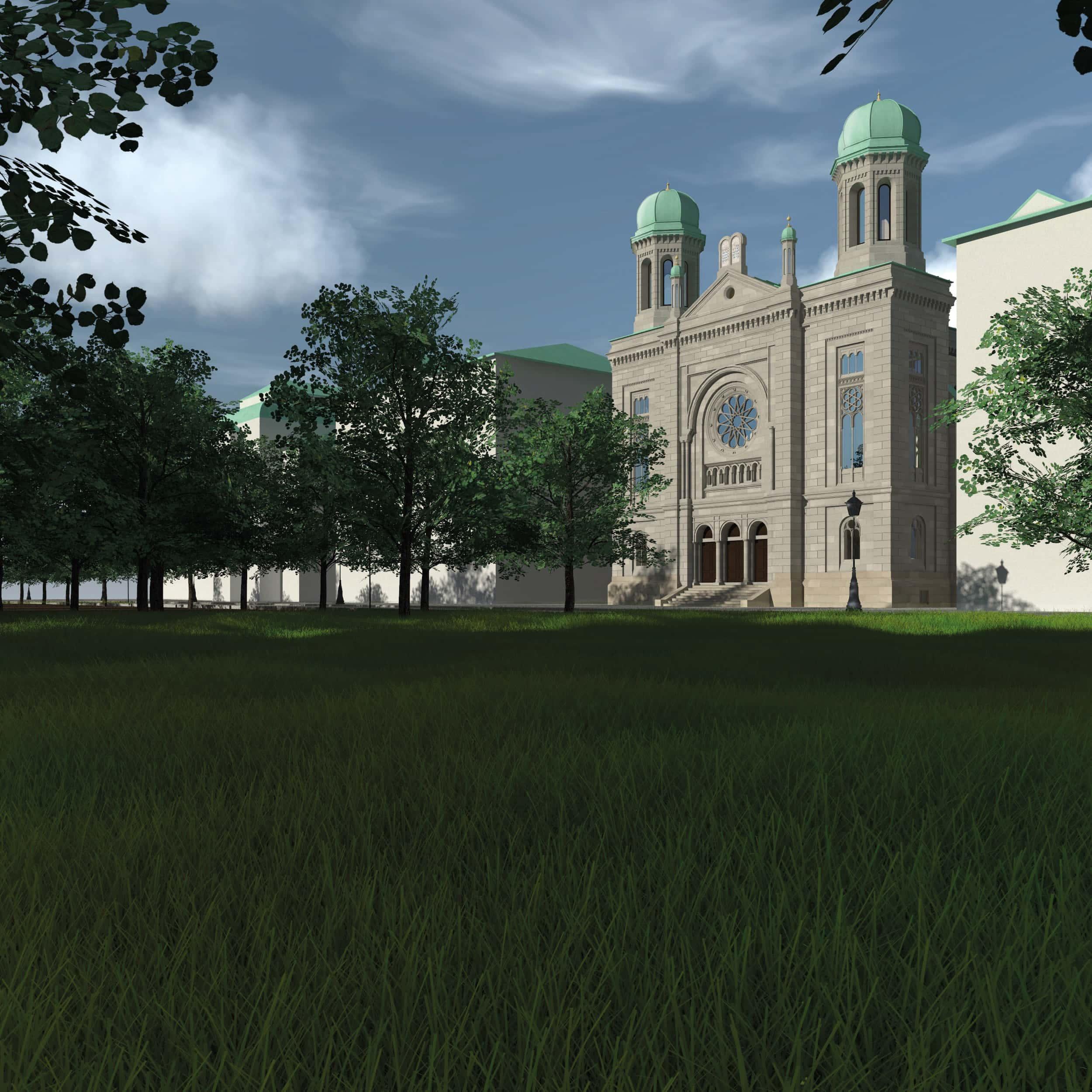 Visualisierung der Synagoge Marienbad, Park, Texturiertes Modell