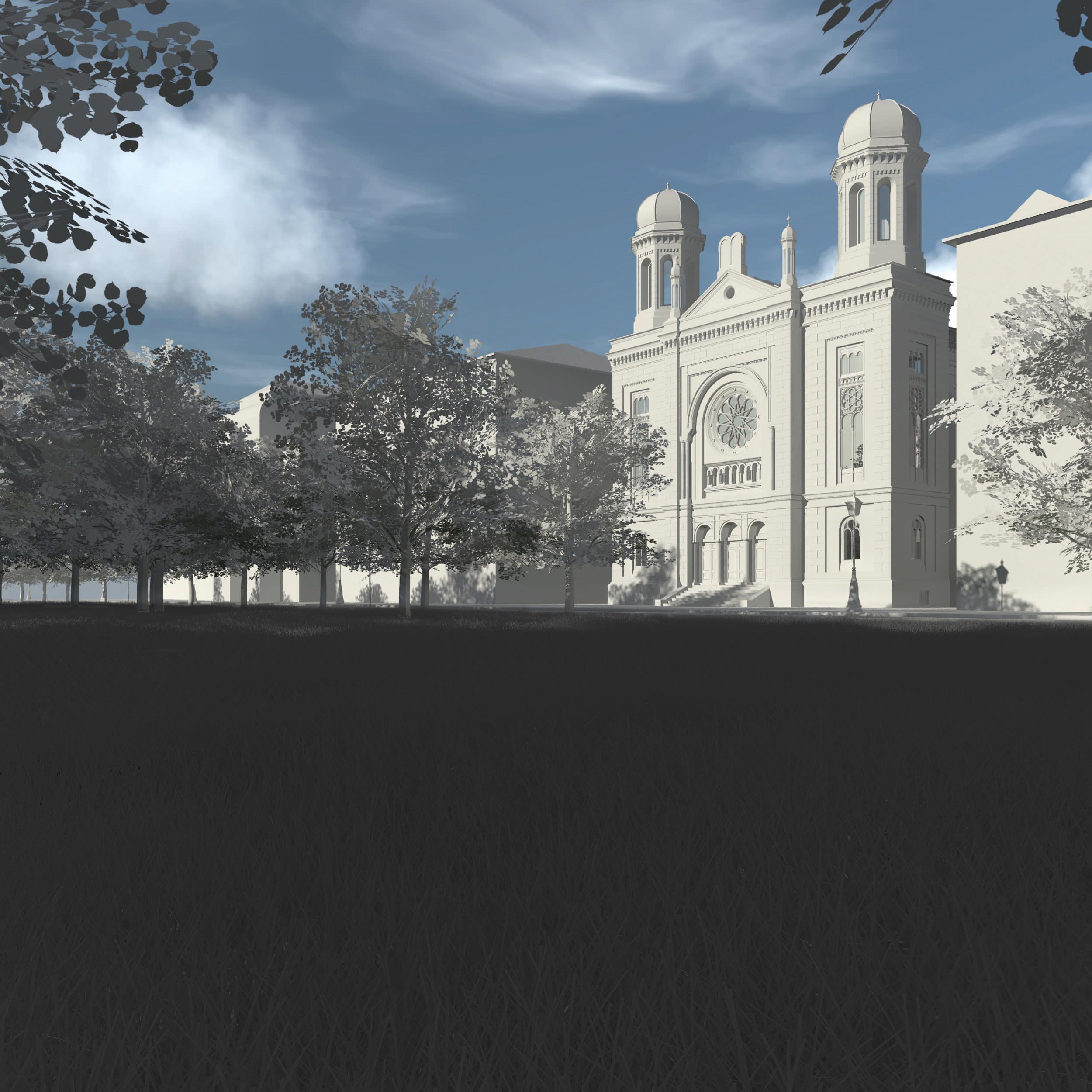 Visualisierung der Synagoge Marienbad, Park, Weißmodell