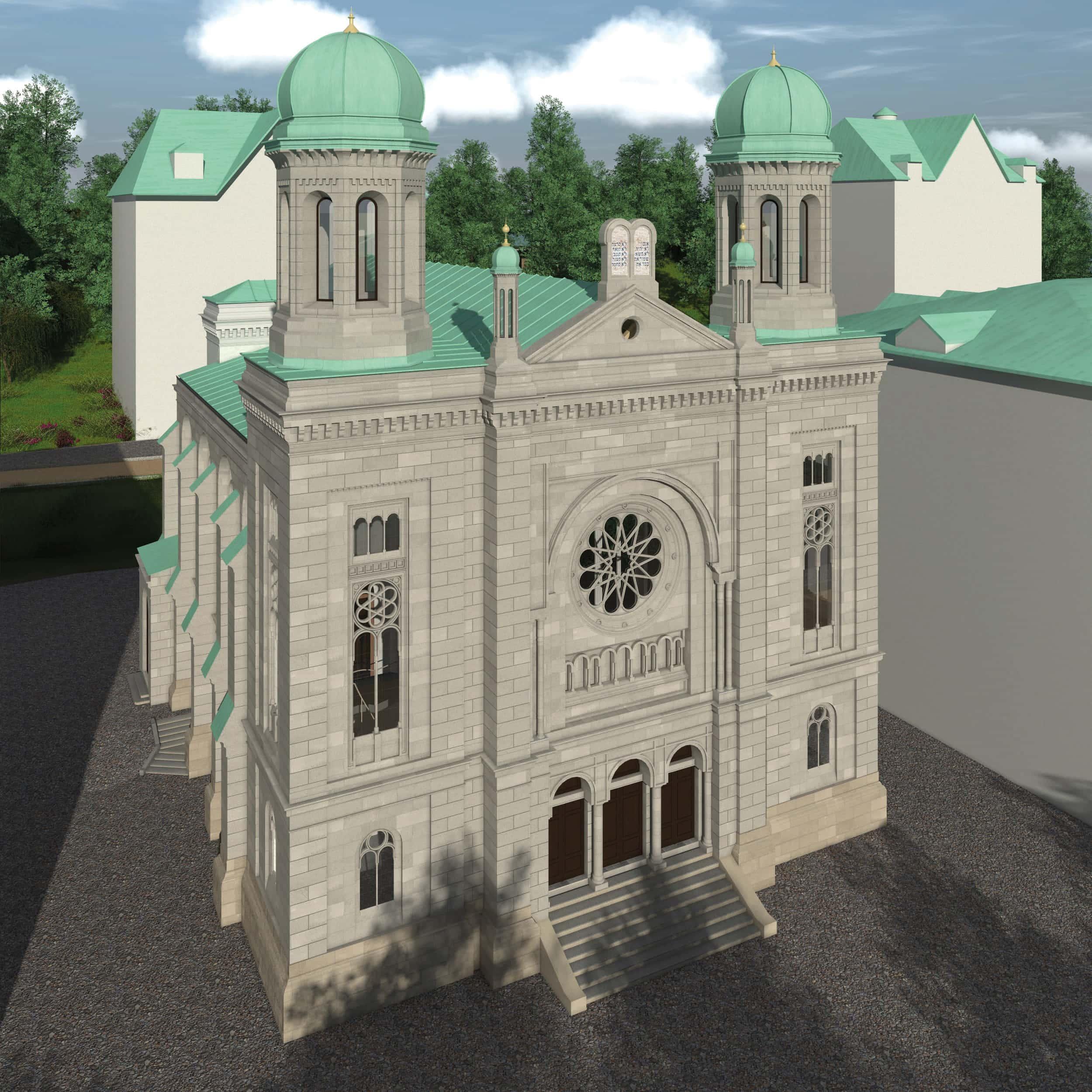 Visualisierung der Synagoge Marienbad, Straßenseite, Ostfassade