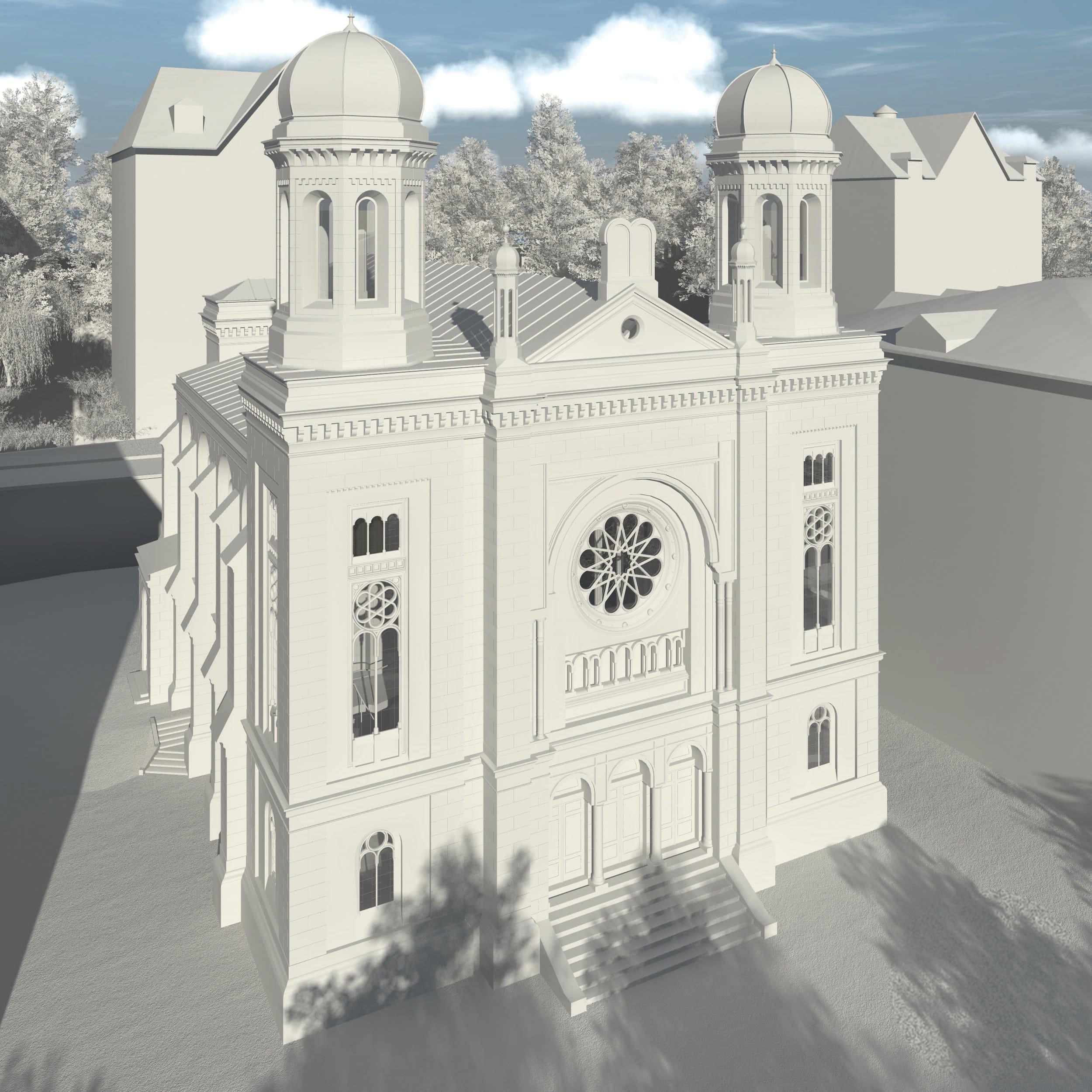 Visualisierung der Synagoge Marienbad, Straßenseite, Ostfassade, Weißmodell