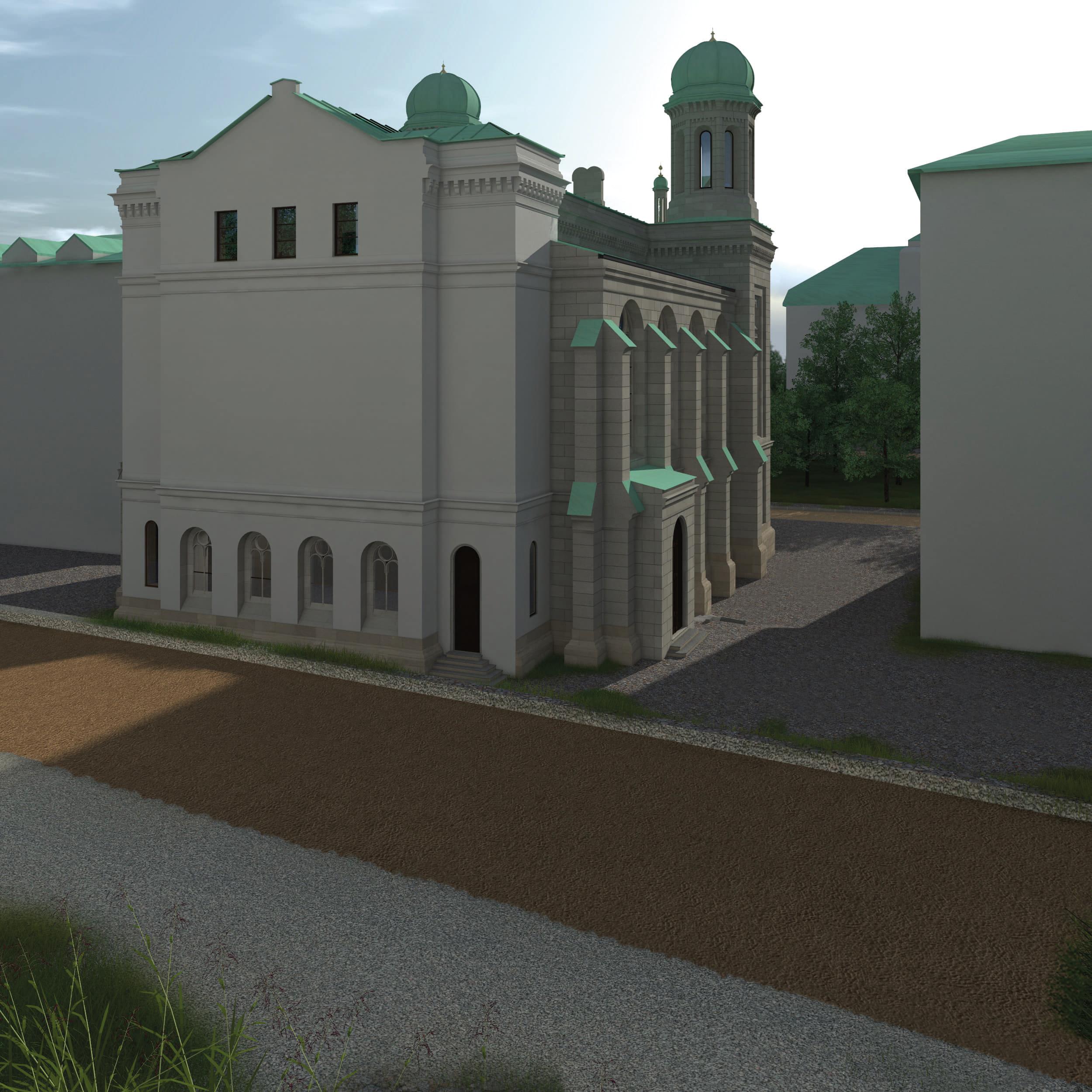 Visualisierung der Synagoge Marienbad, Rückseite, Westseite