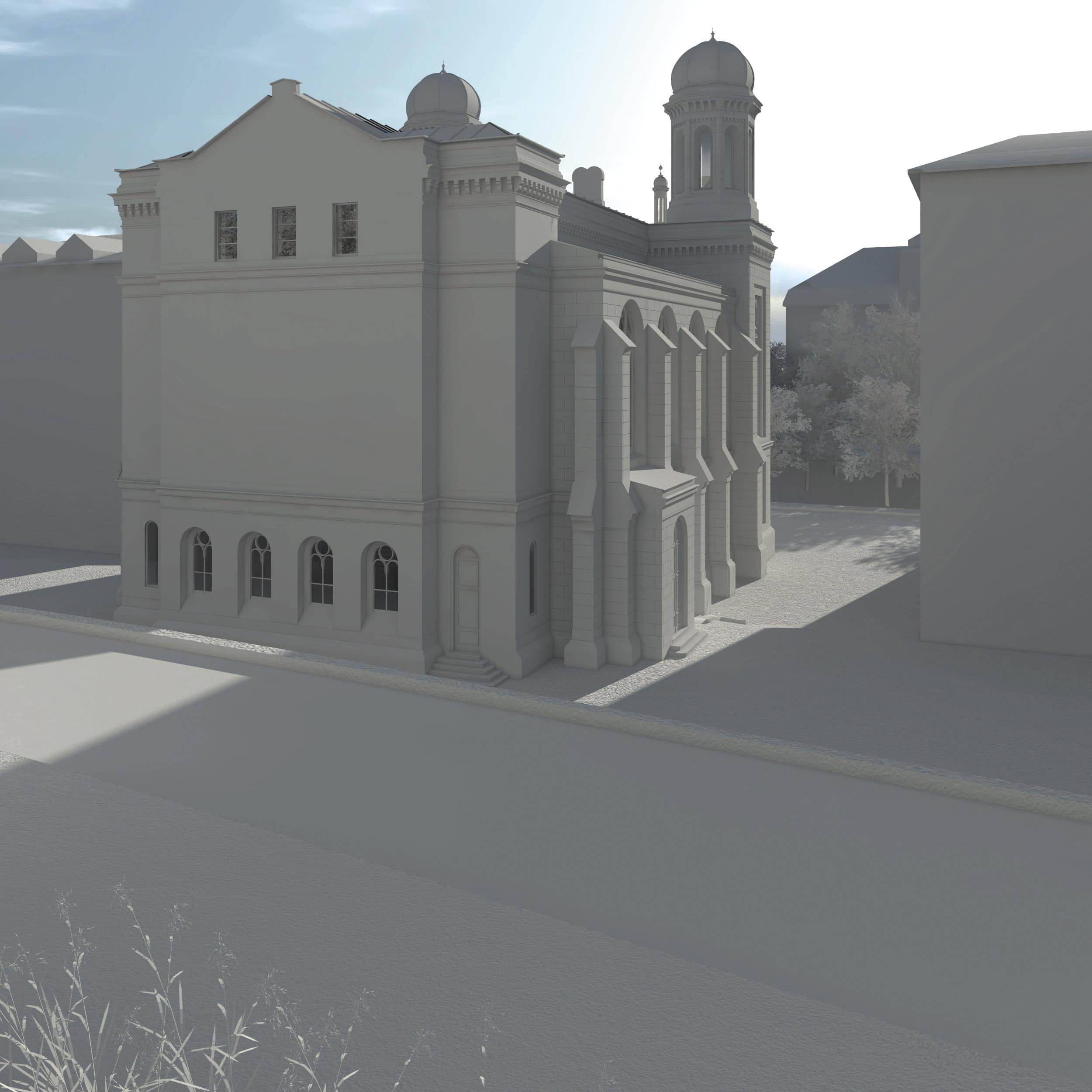 Visualisierung der Synagoge Marienbad, Rückseite, Westseite, Weißmodell