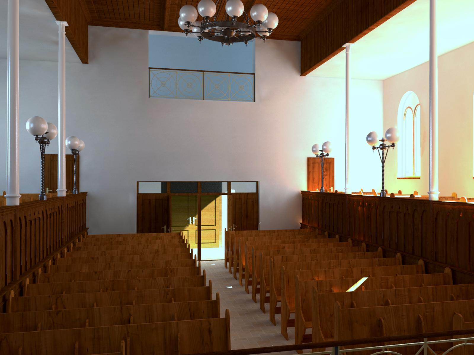 Innenansicht der Synagoge - Westwand
