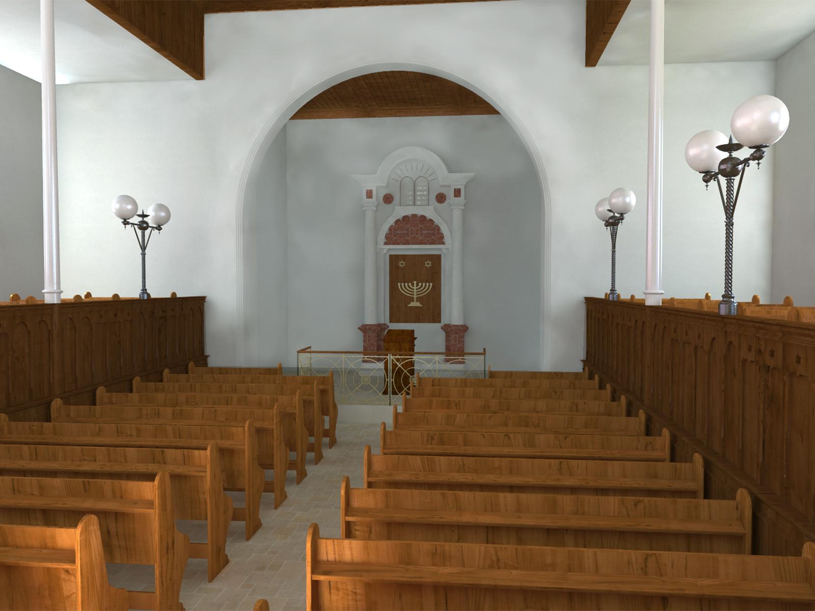 Innenansicht der Synagoge  - Ostwand