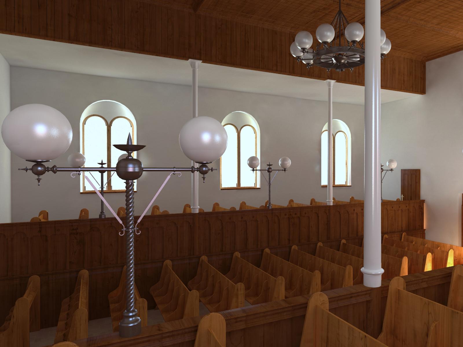 Innenansicht der Synagoge  - Südwand