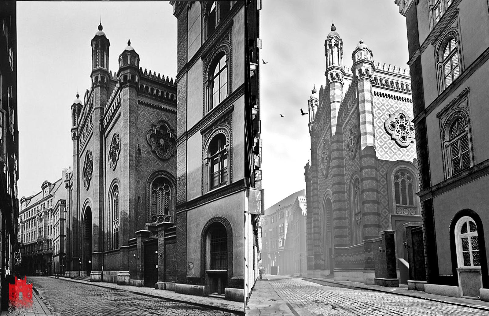 Ein Vergleich zwischen einem Foto von 1900 un der Visualisierung in Echtzeit