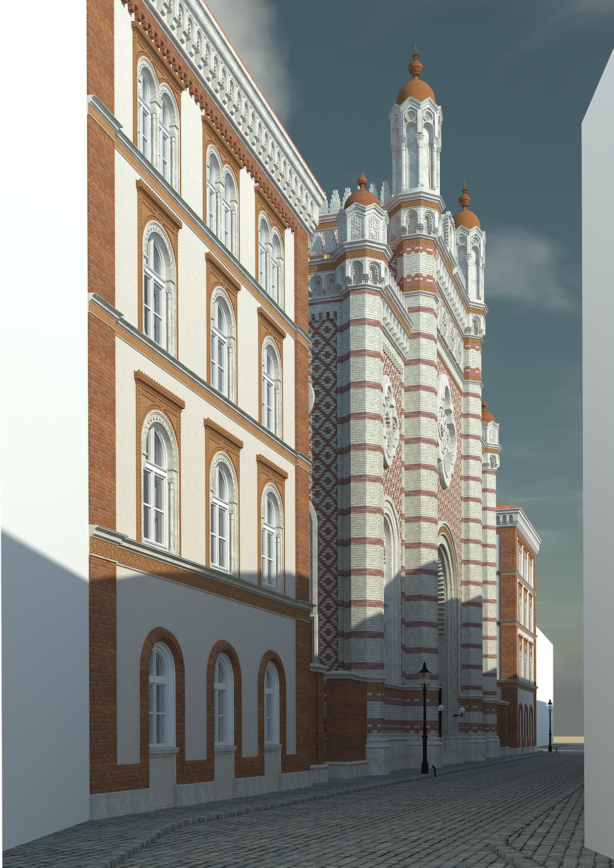 Eine Ansicht der Synagoge von der nördlichen Tempelgasse. Gerendert in Artlantis / weissliche Variante