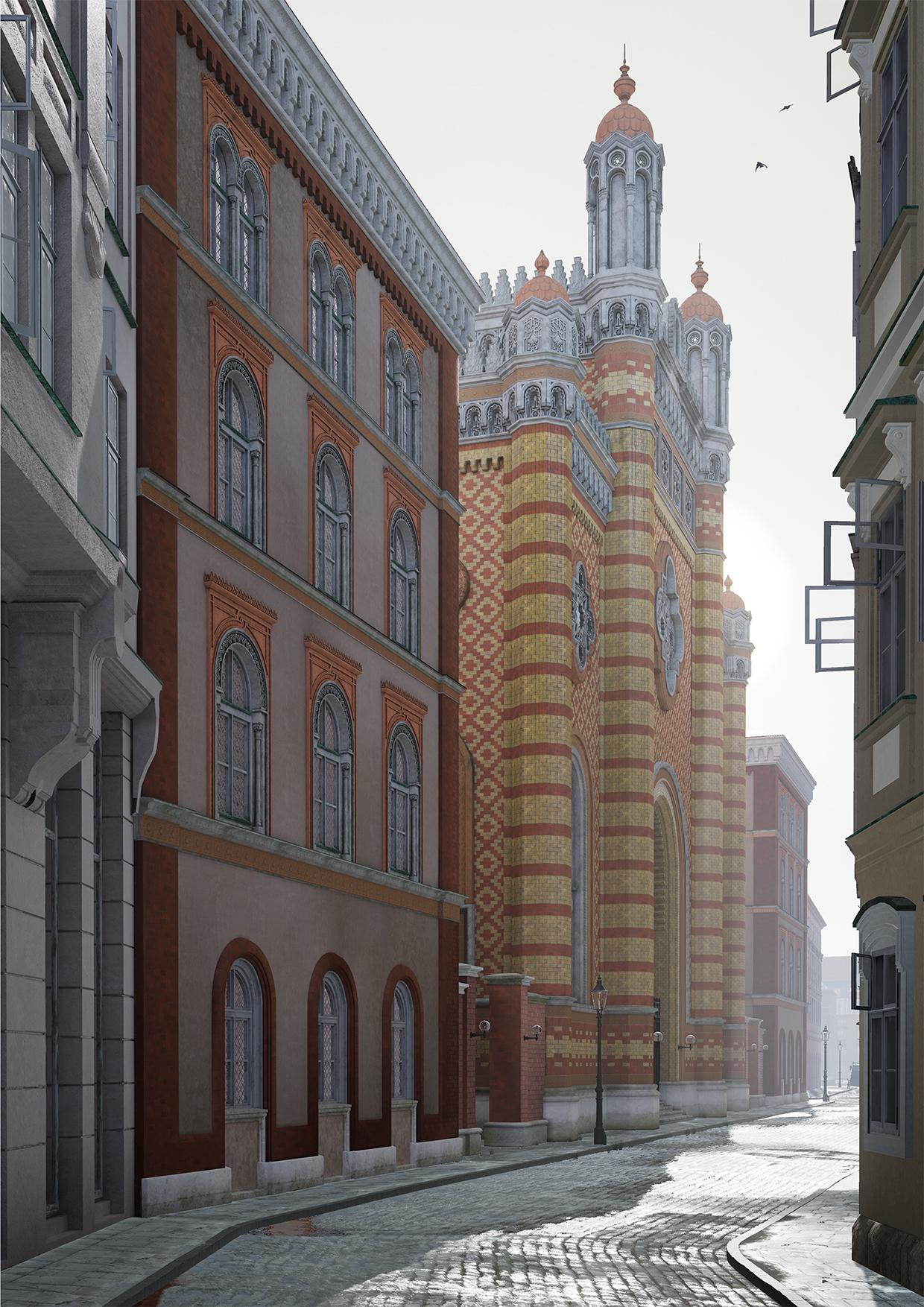 Eine Ansicht der Synagoge von der nördlichen Tempelgasse. Gerendert in Echtzeit in der Unreal Engine 4