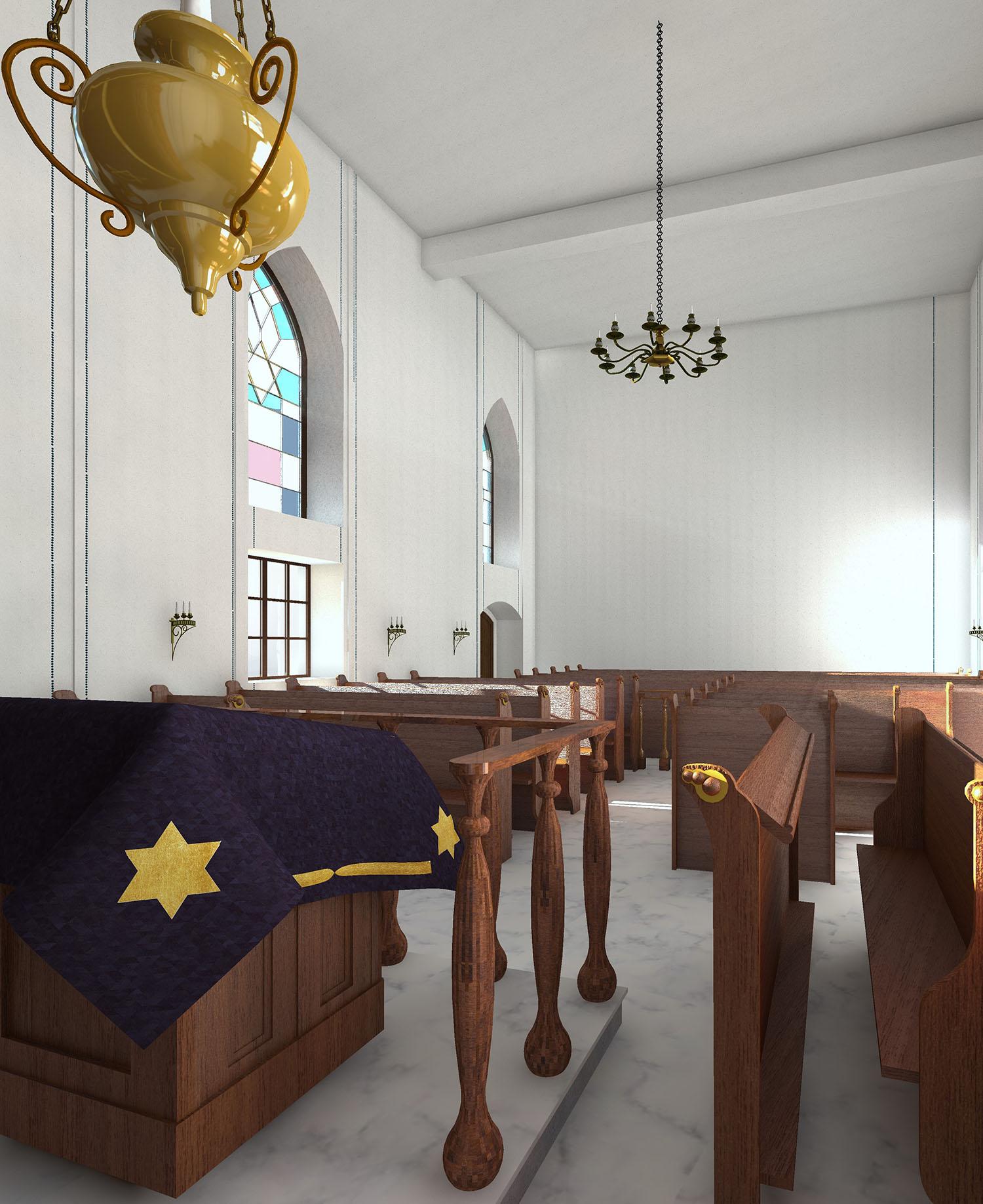 Alte Synagoge - Innenraum mit Blick Richtung Frauenbereich