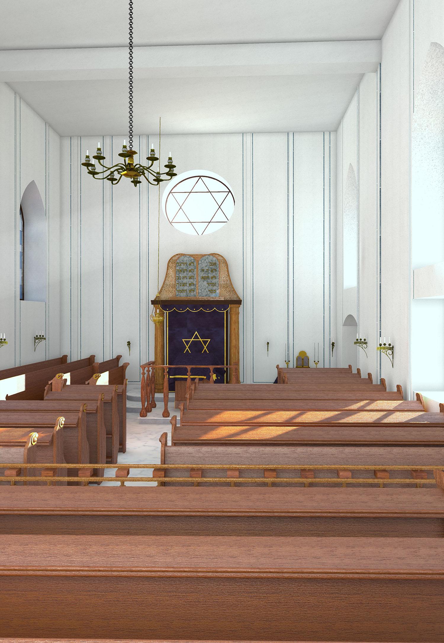 Alte Synagoge - Innenraum mit Blick Richtung Thoraschrein