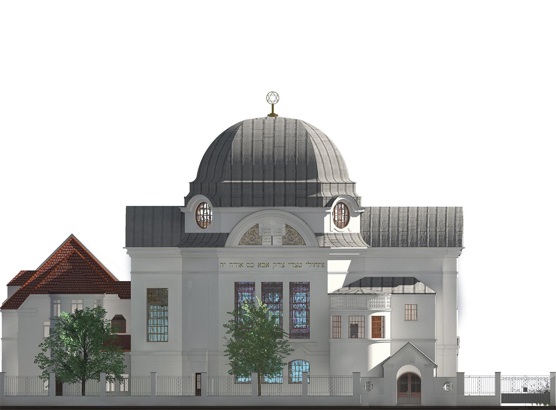 Nordfassade der neuen Synagoge