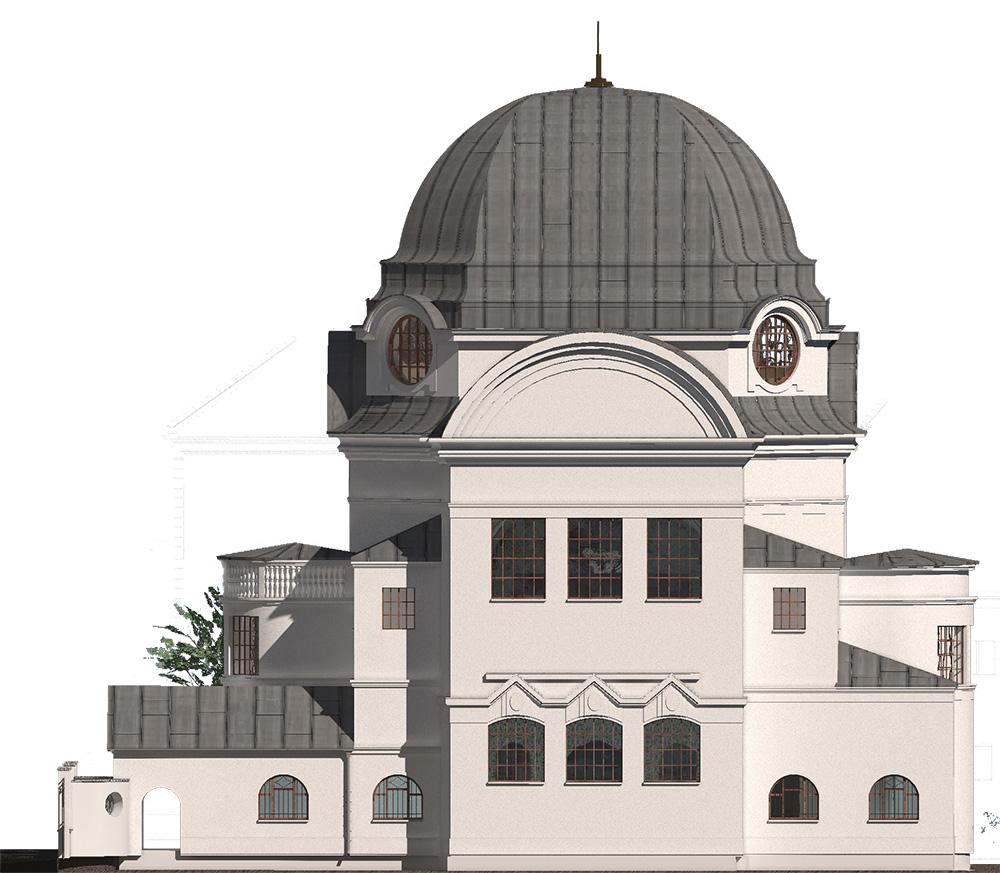 Westfassade der neuen Synagoge