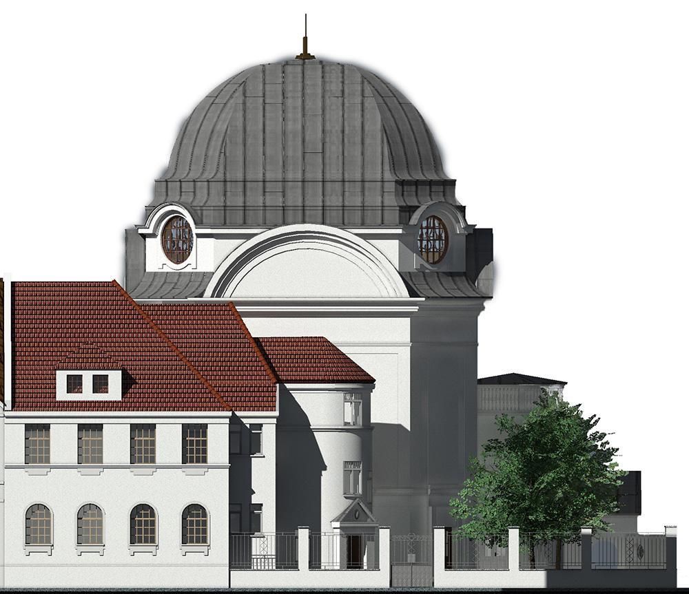 Ostfassade der neuen Synagoge