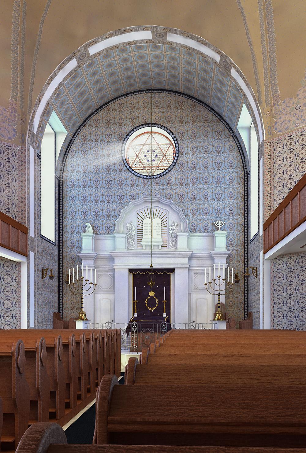 Neue Synagoge - Innenraum mit Blick Richtung Thoraschrein